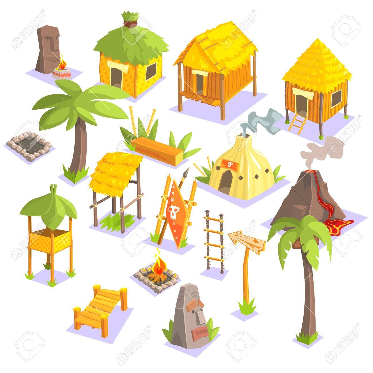 Jungle Tribal Leben Häuser Und Andere Objekte Kühle Bunte Vektor ...