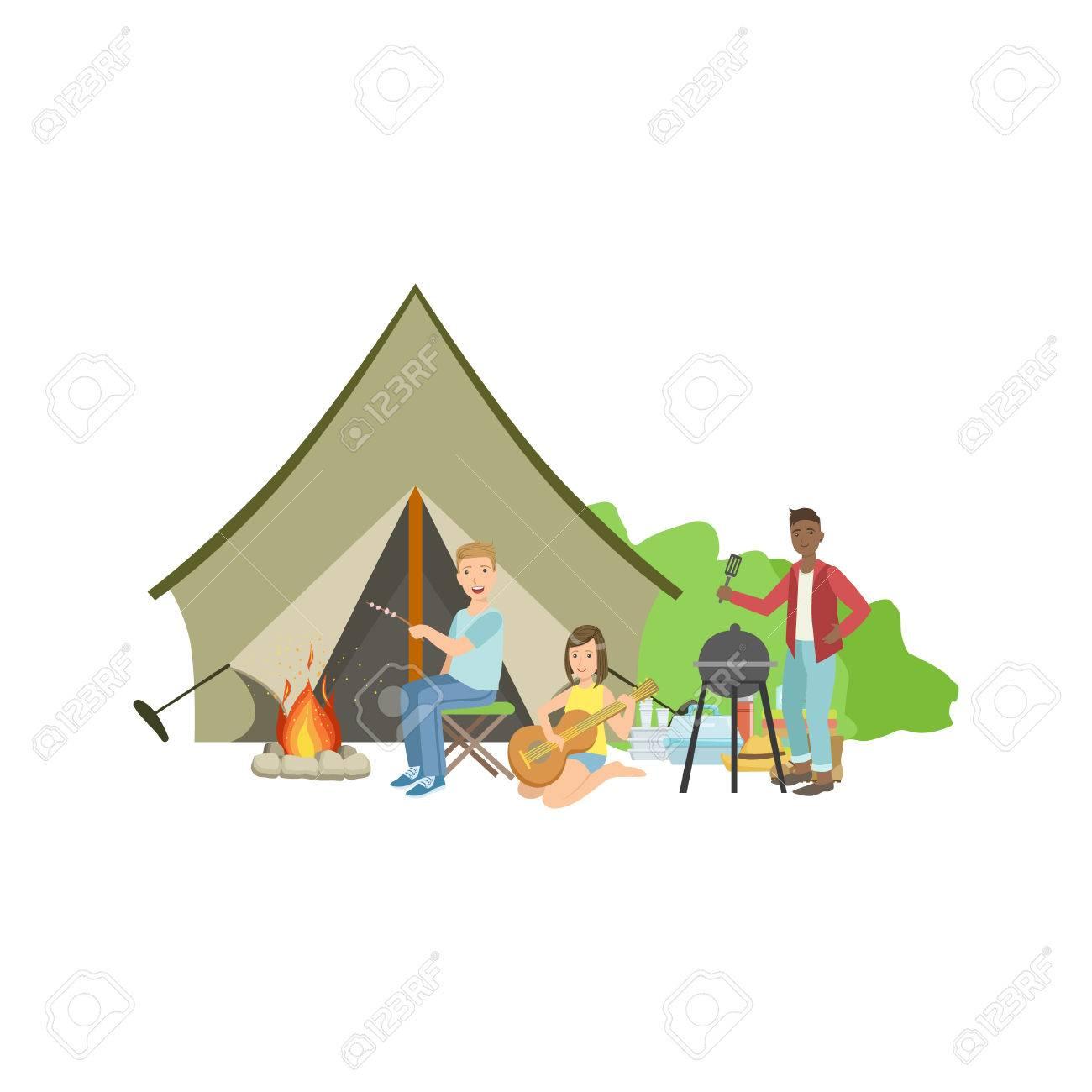 焚き火とテント簡単な幼稚なフラット カラフルなイラスト白い背景の上