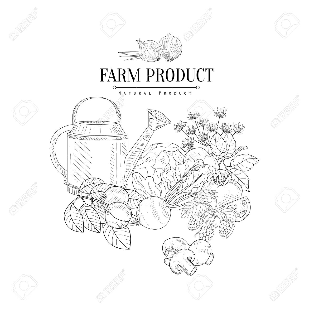 Farm Product Hand Drawn Realistic Detailed Sketch In Classy Simple ... for Simple Farm Sketch  113cpg