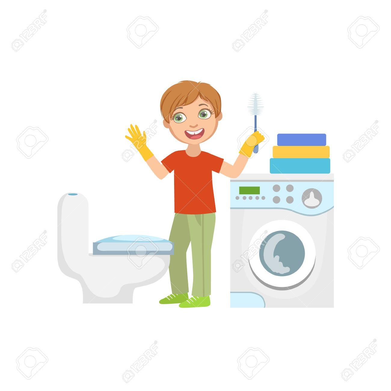 Boy limpiar el inodoro con el cepillo en cuarto de baño del diseño simple  ilustración de estilo de dibujos animados lindo divertido aislados en ...
