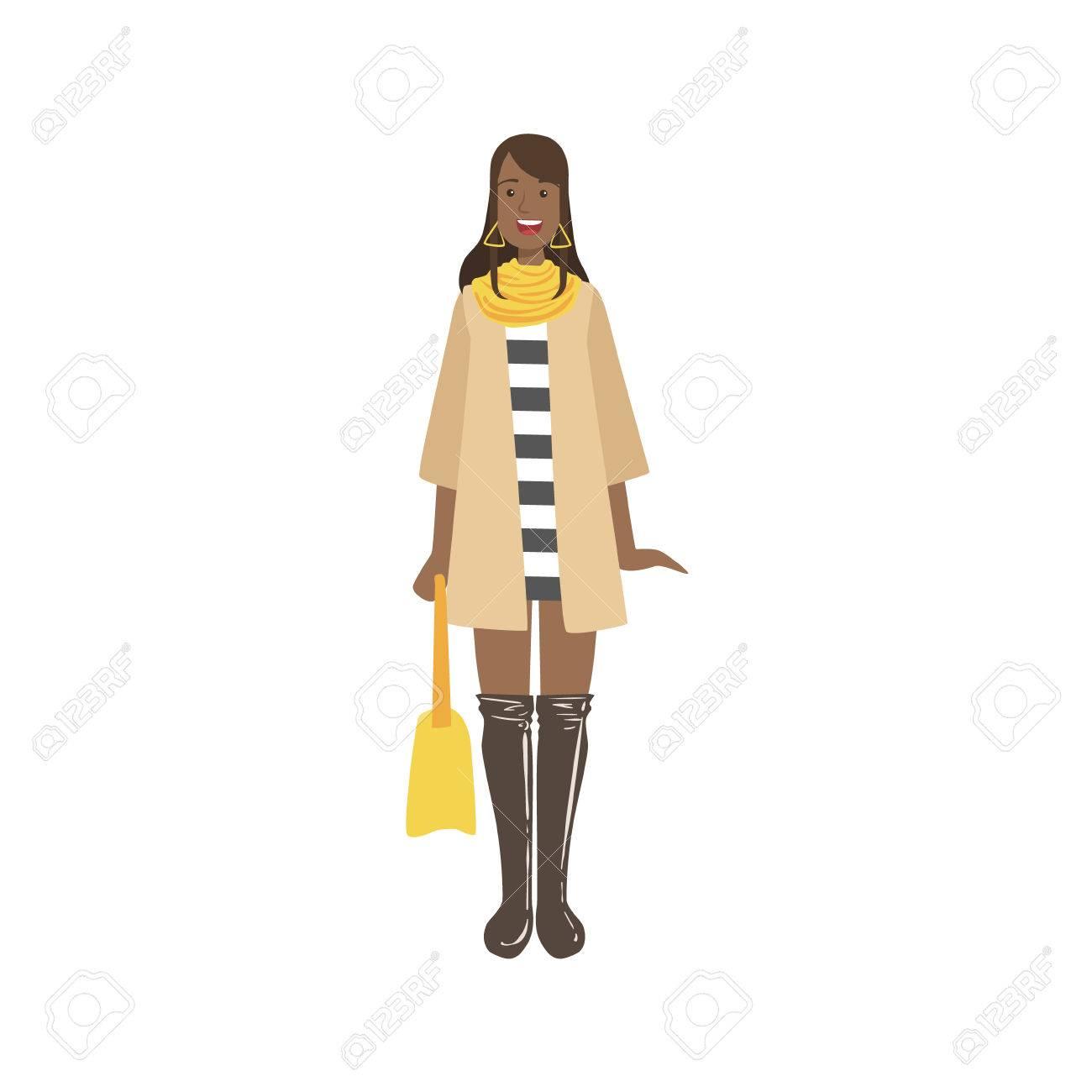 秋のおしゃれな街で、若い女性に見える白い背景のシンプルな幼稚な