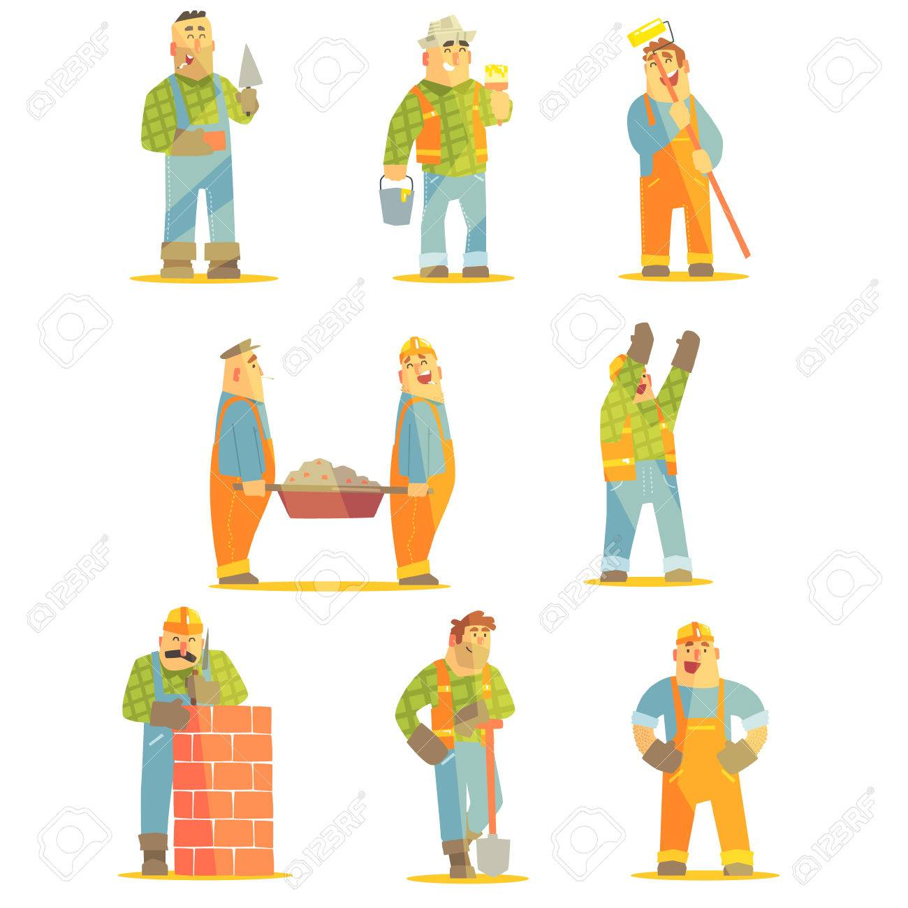 builder professionals at construction site set of graphic design