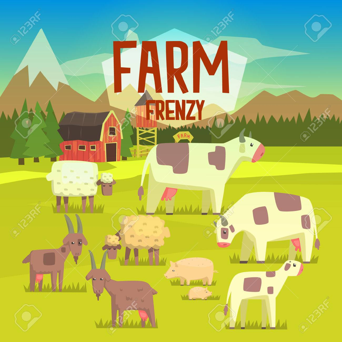Farm Frenzy Illustration With Field Full Of Farm Animals.Bright ... for Farm Field Drawing With Color  61obs