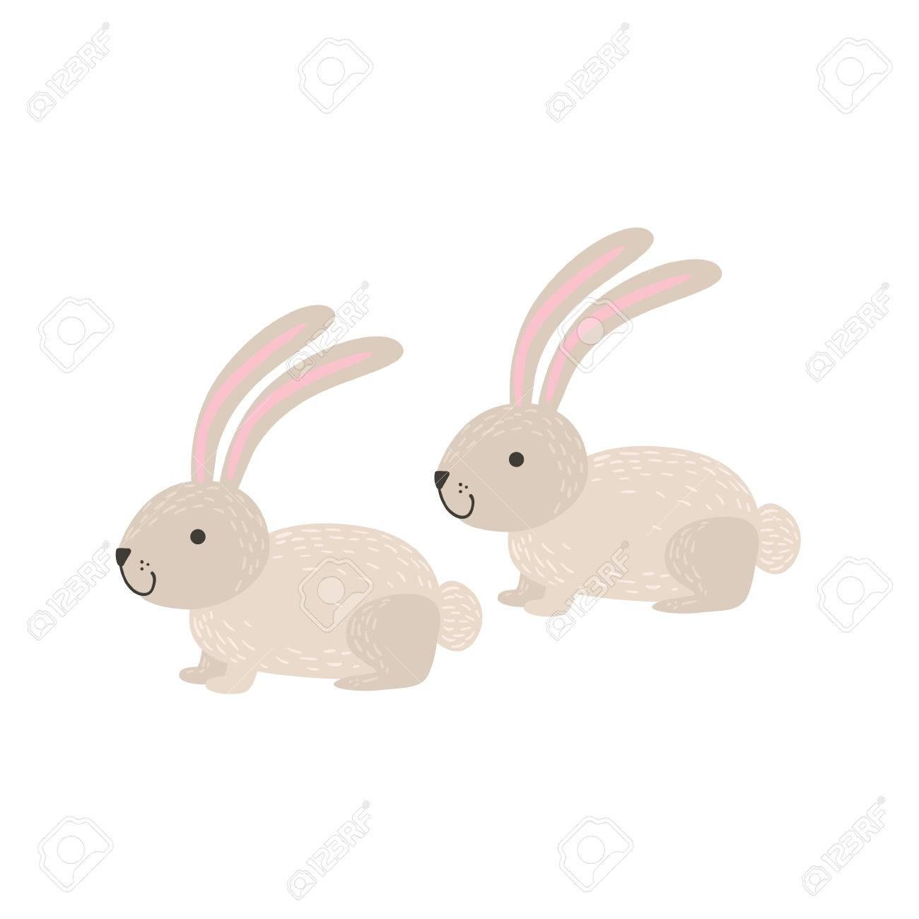 Deux Lapins Blancs Assis Stylisés Dessin Vectoriel Plat Enfantin