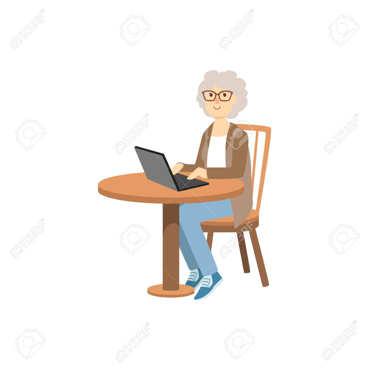 Old Woman Working On Lap Top Bright Color Cartoon Simple Style Flat Vector Sticker Isolated On White Background - 61069061