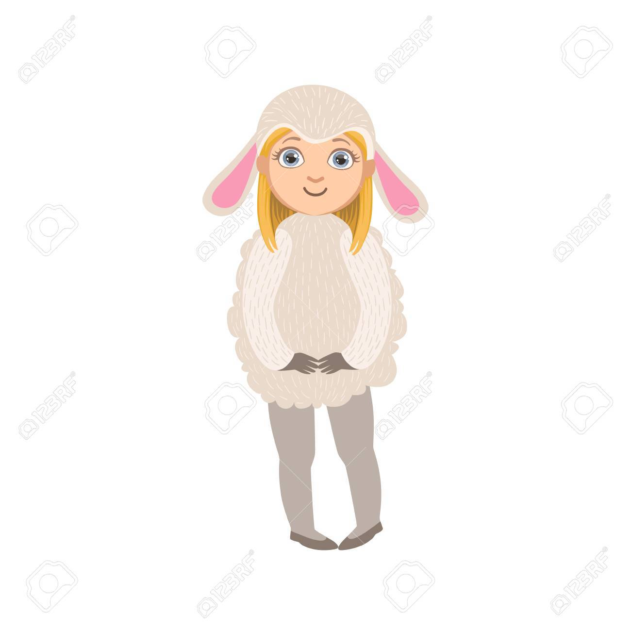 かわいい楽しい漫画のスタイルの白い背景で隔離の羊動物衣装シンプルなデザイン イラストを着た女の子のイラスト素材 ベクタ Image