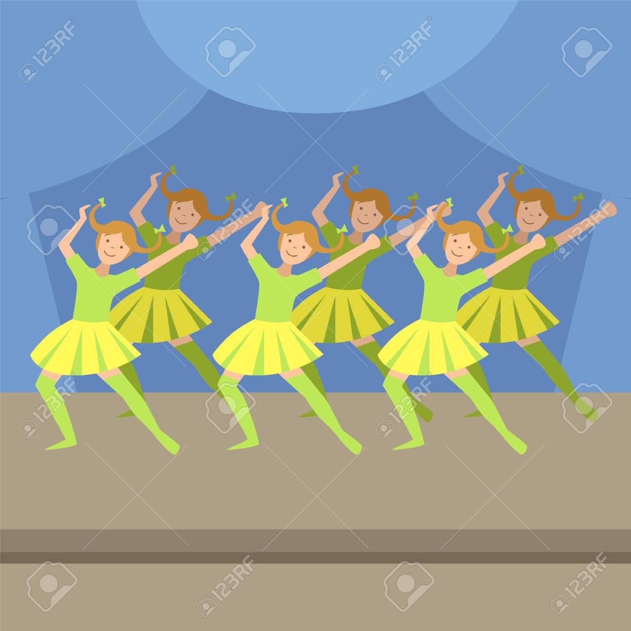 Enfants Synchronisee Spectacle De Danse Moderne Simplifie Dessin