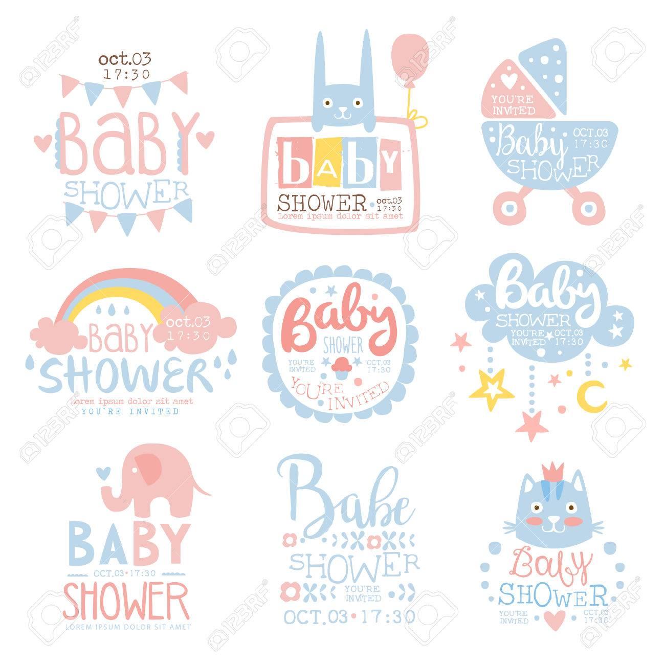 Babyparty-Einladungs-Schablone Im Pastell Färbt Sammlung Der ...
