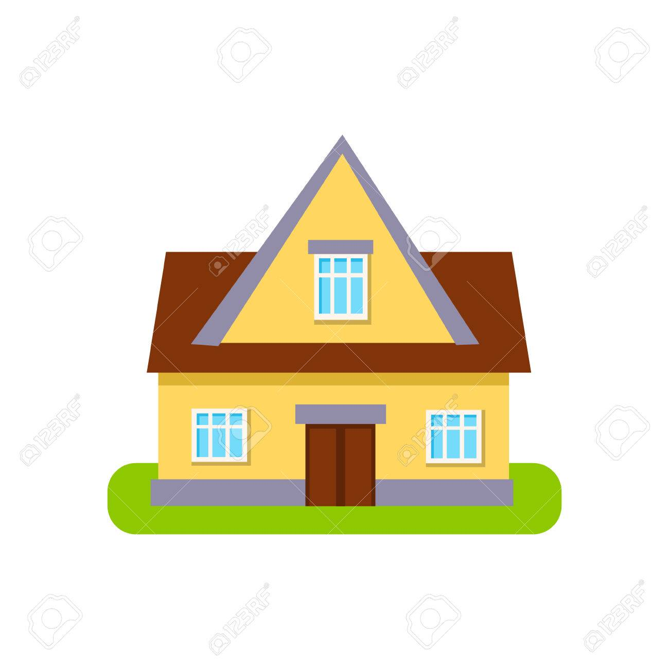 Classic Cottage Suburban House Exterior Design Primitive Geometric Flat  Vector Drawing Isolated On White Background Stock