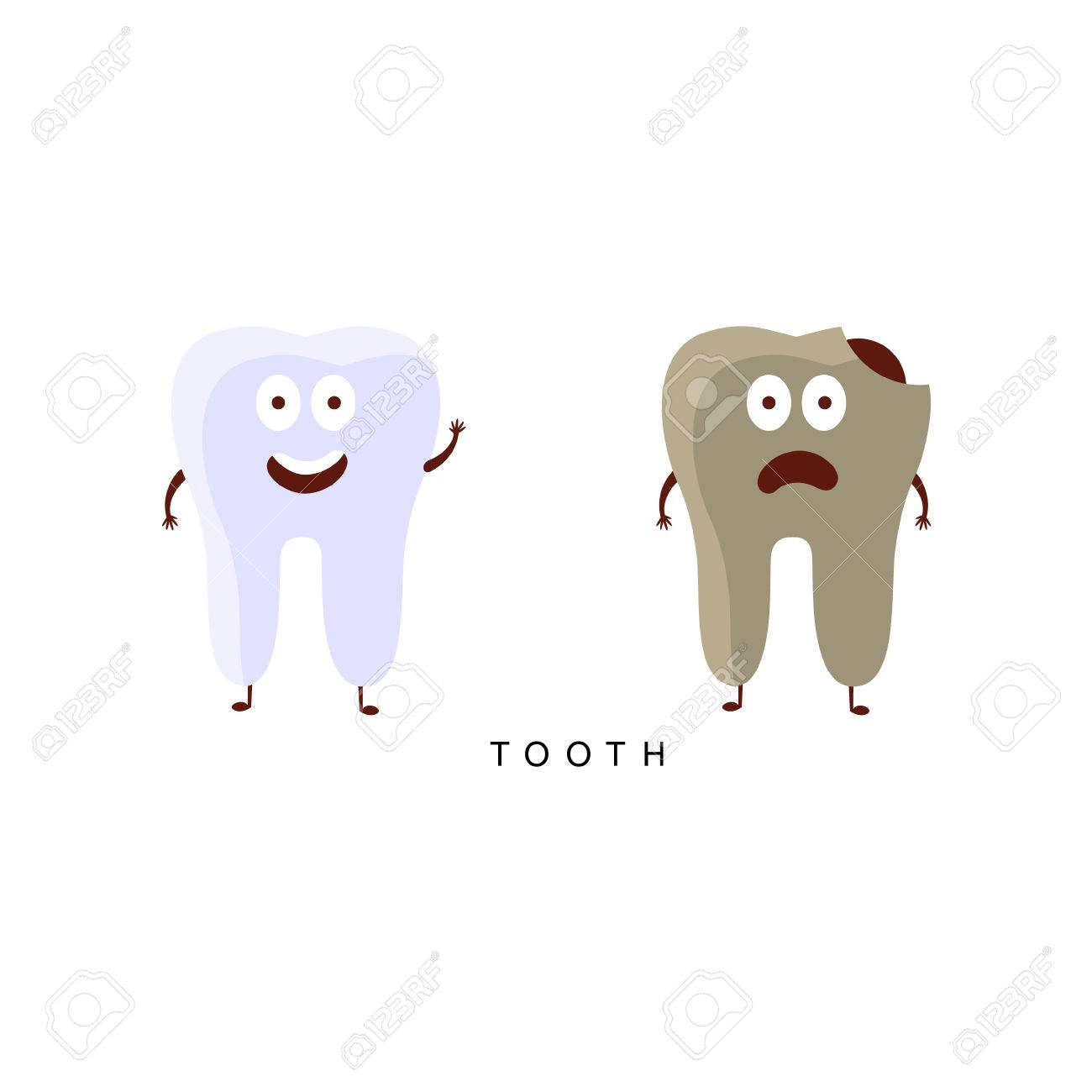 Healthy vs Unhealthy Tooth Infographic Illustration Humanized