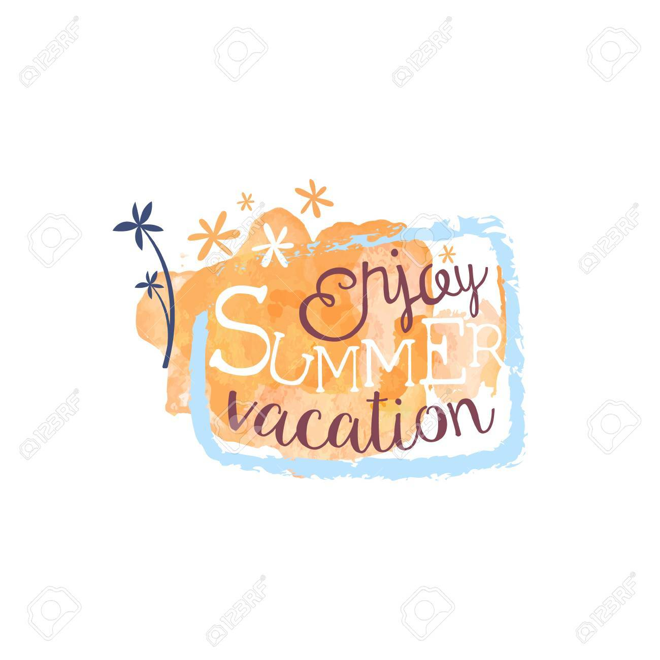 Enjoy Summer Vacation Message Watercolor Stylized Label Bright Color Hand Drawn Promo Sign