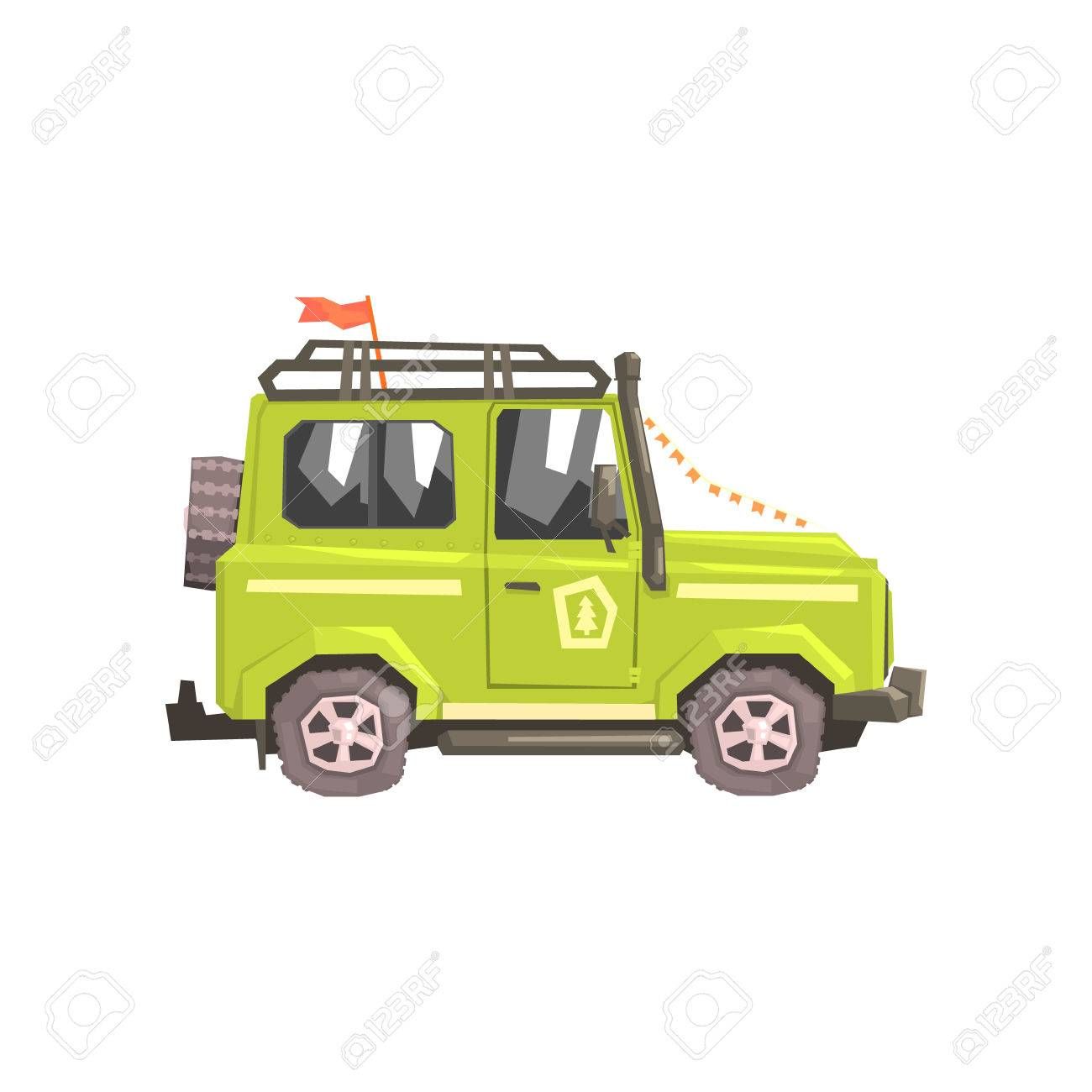 Green suv safari car cool colorful vector illustration in stylized geometric cartoon design on white