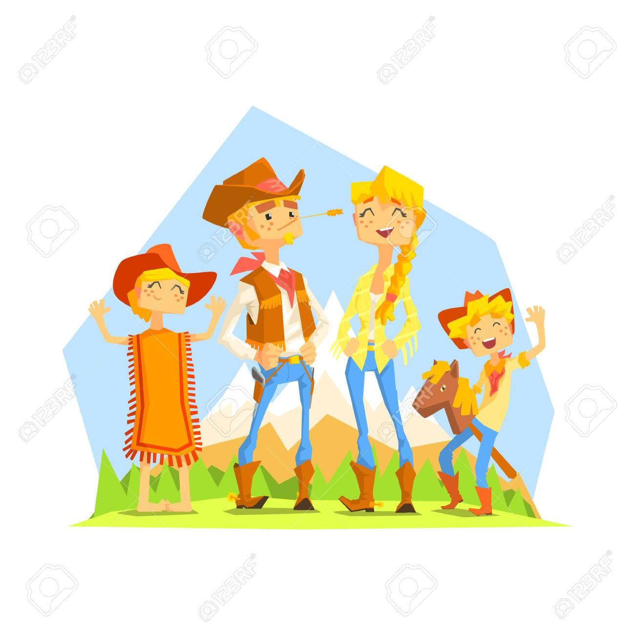 Familia Vestido Como Vaqueros Con El Paisaje De La Montaña En El ...