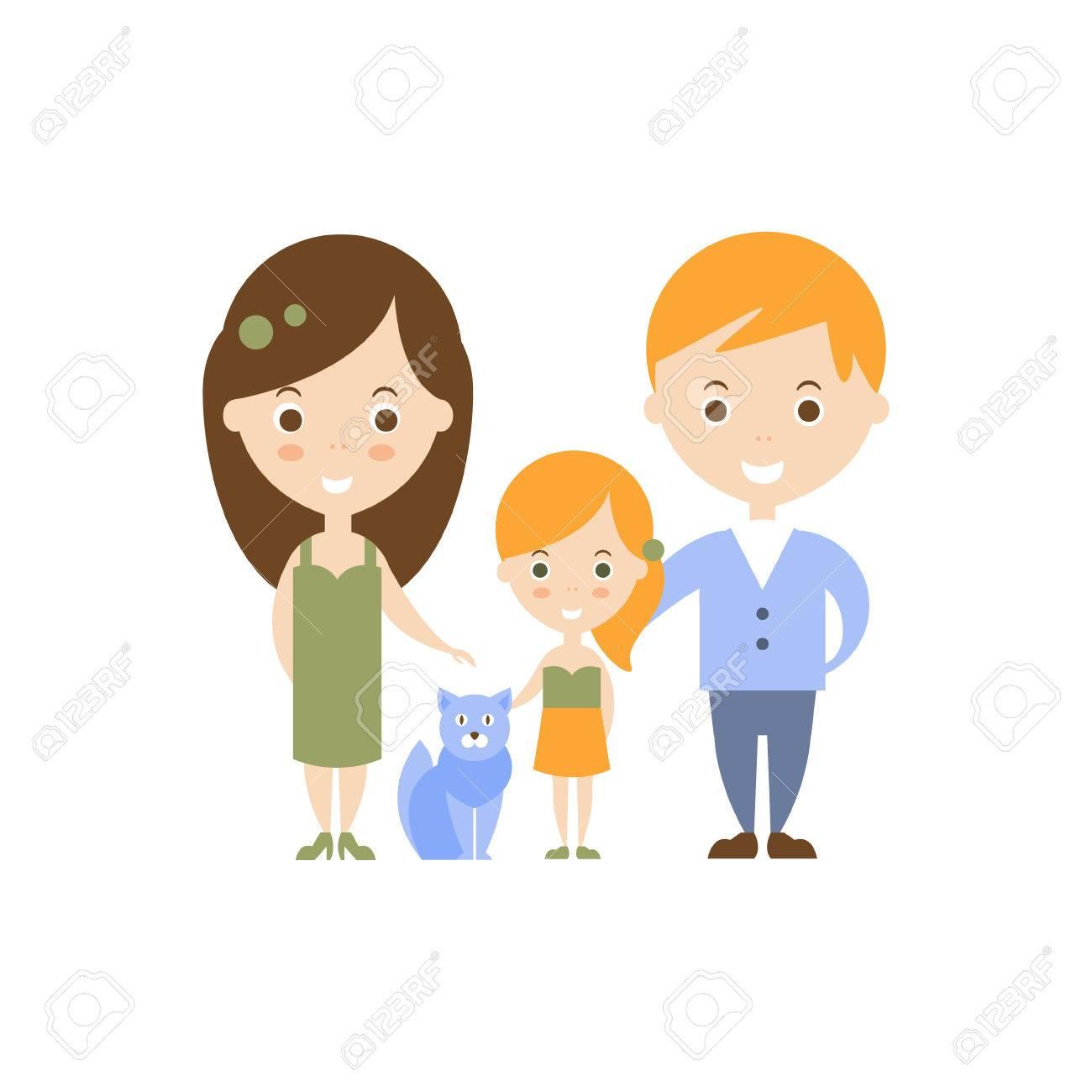 Famille Comme Idée De Bonheur Personnel Mère Père Et Fille Chat