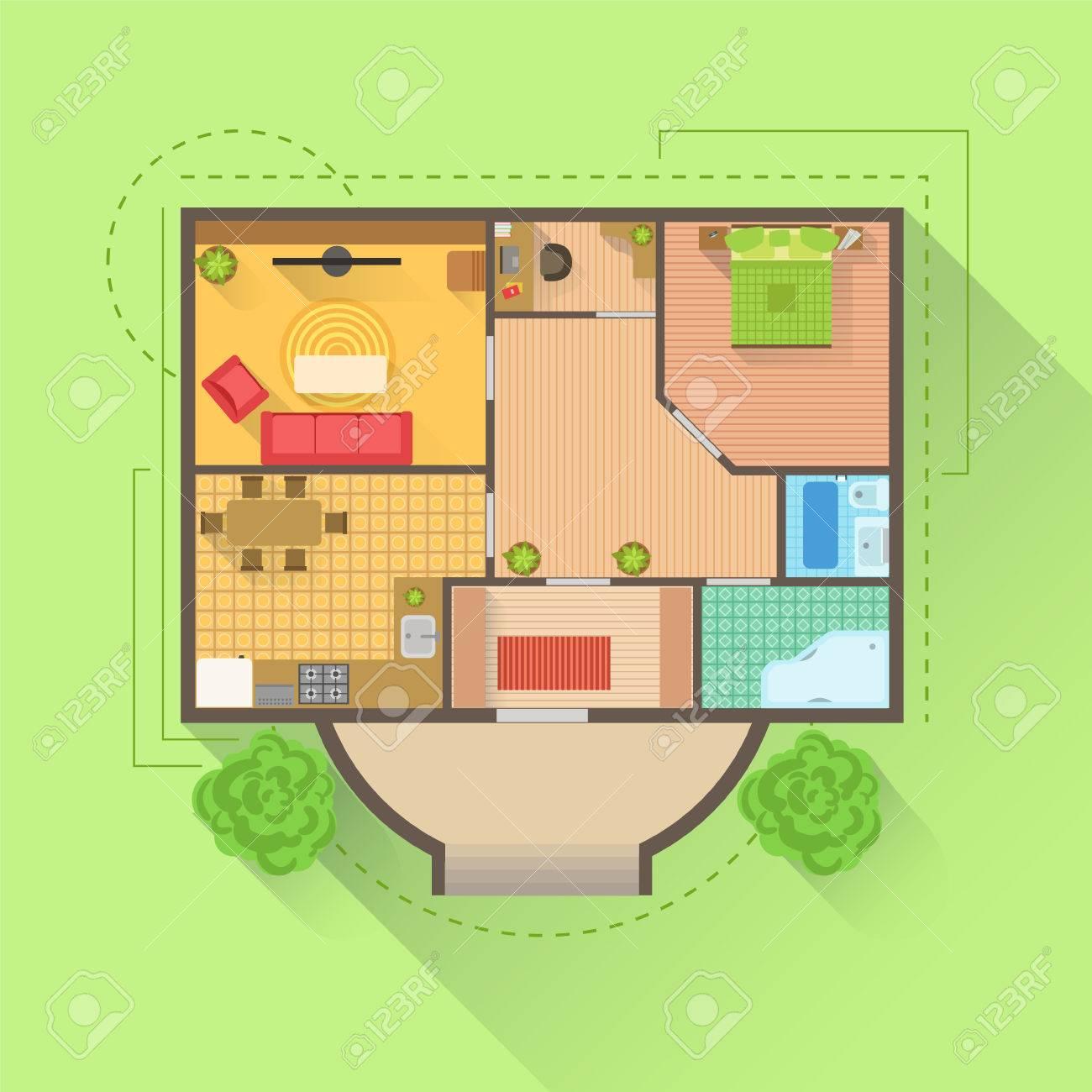 Haus Boden Interior Design-Projekt-Ansicht Von Oben. Wohnung ...