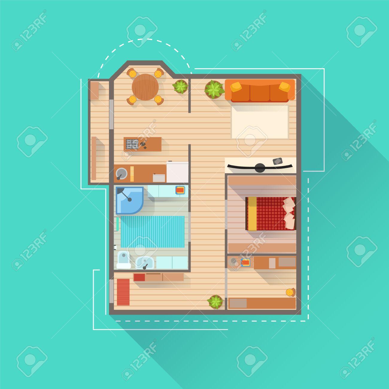 Apartment Interior Design Projekt Ansicht Von Oben. Wohnung Einfache ...