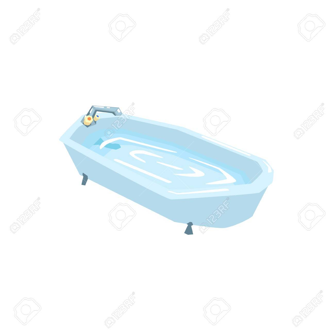 Bath Tub Filled With Water Cool Colorful Vector Illustration ...