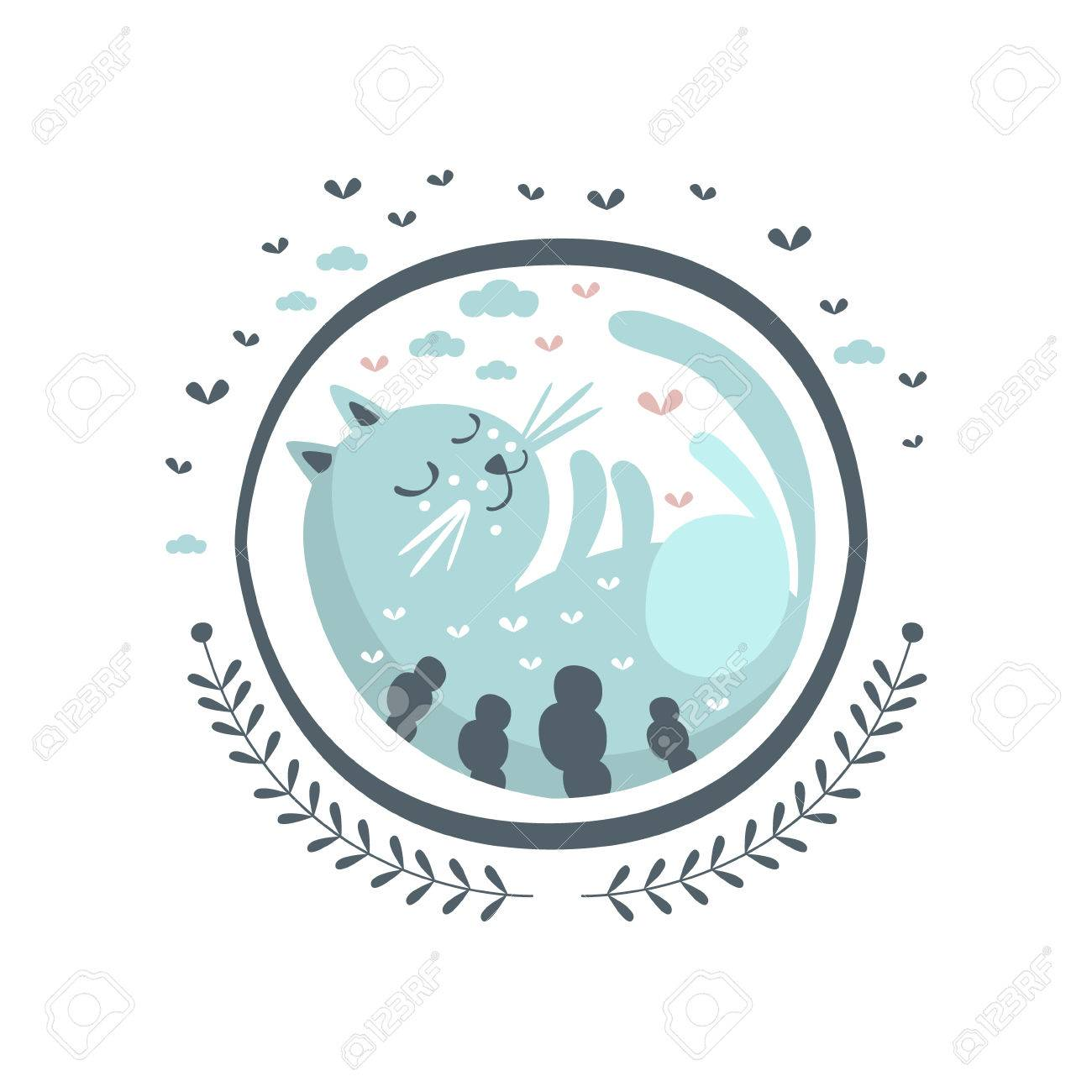 Blue Cat Fairy Tale Character Girly Sticker In Round Frame Childish Simple Design Isolated On