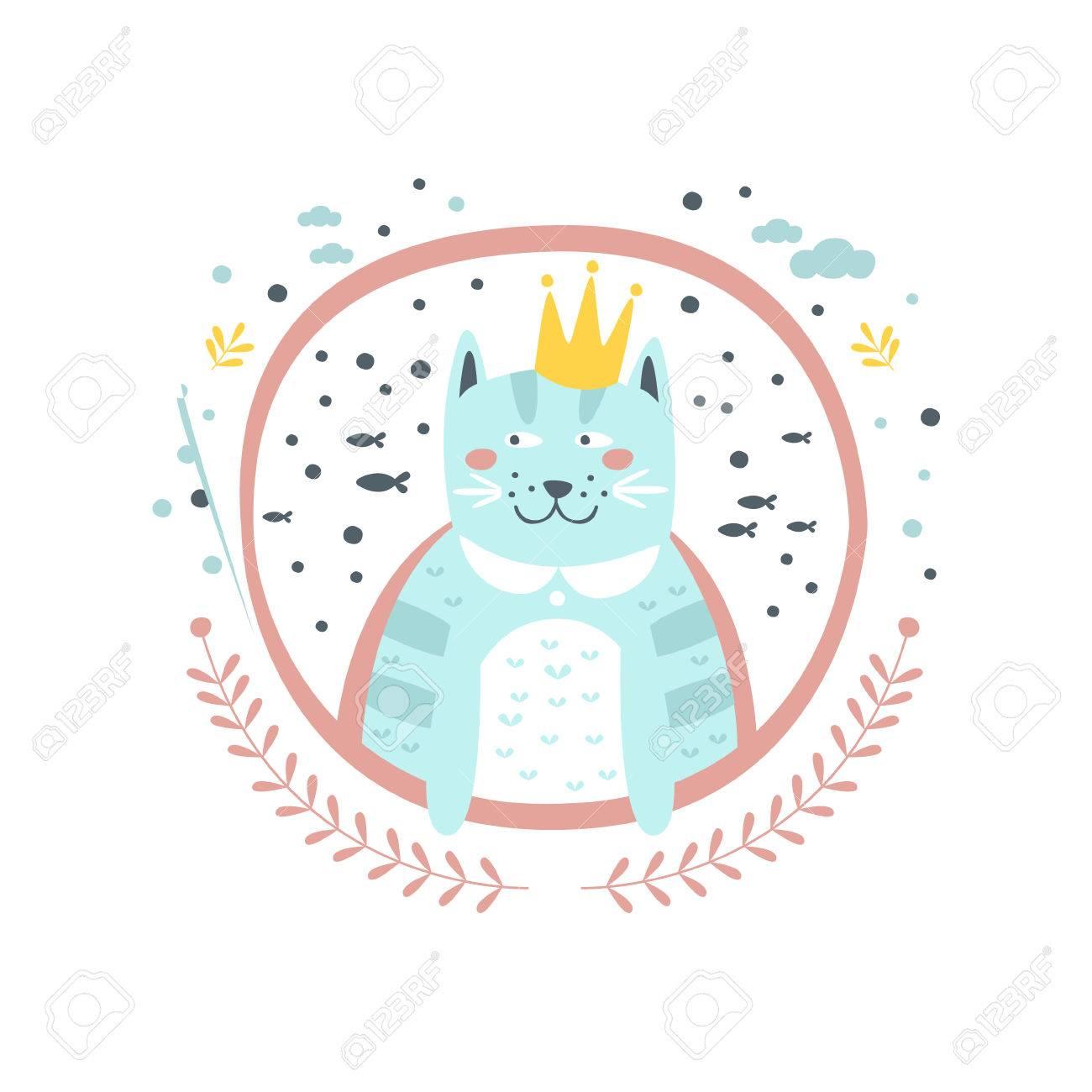 Rey Del Gato Del Cuento De Hadas Del Personaje Femenino Etiqueta De ...