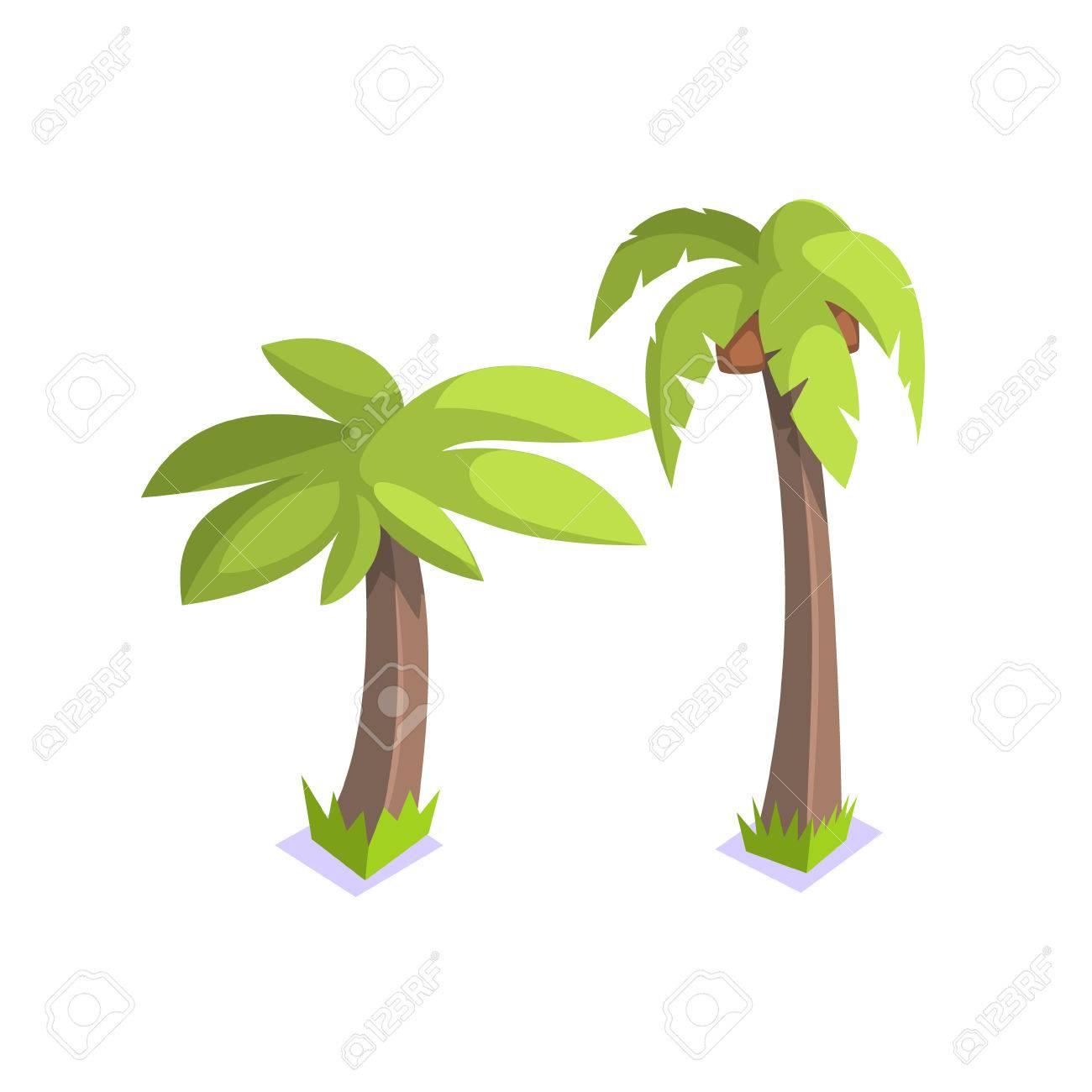 Two Palm Trees Jungle Village Landscape Element. Cool Colorful ...