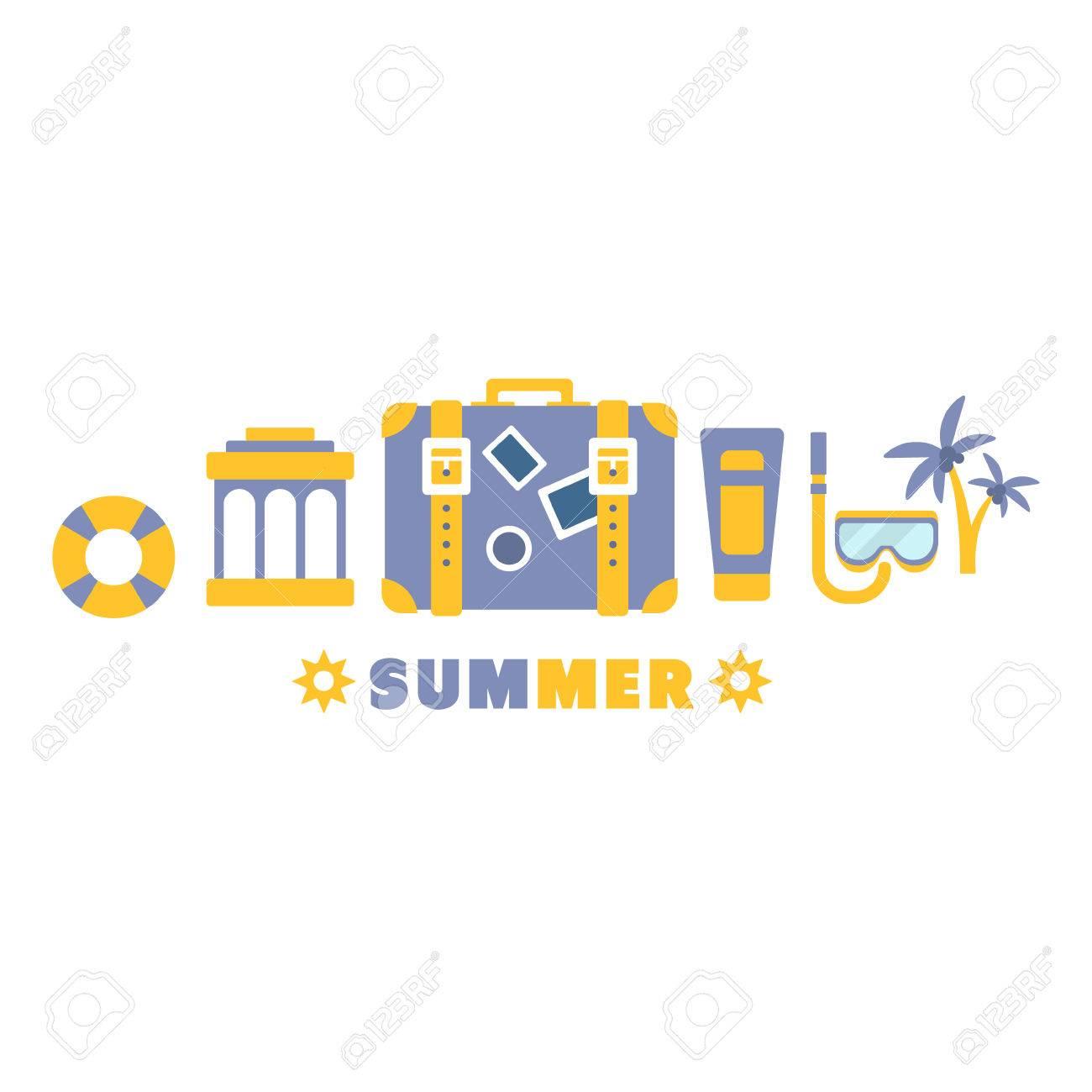 ビーチ休暇シンボル設定によって 5 のライン青および黄色クリップアート