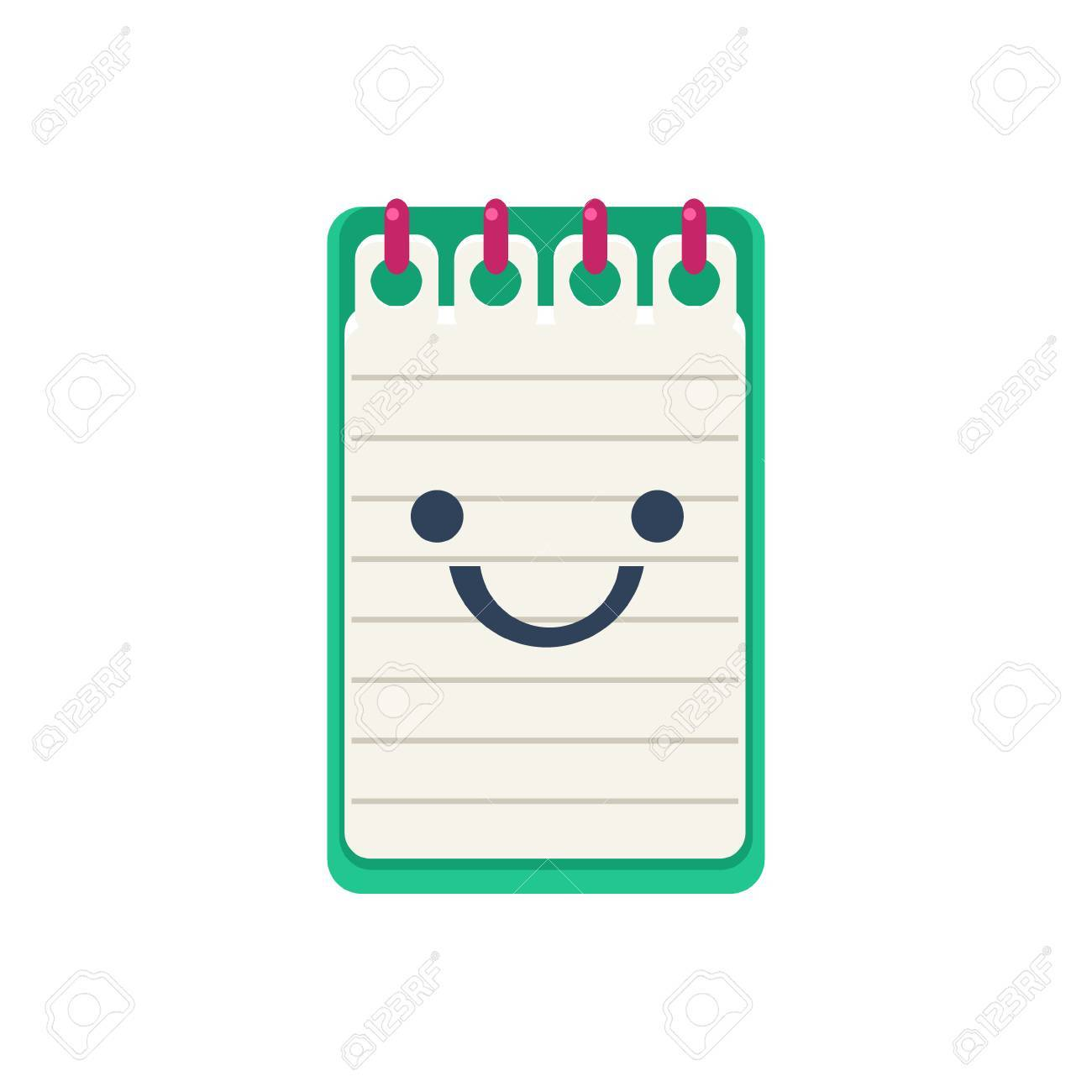 Open Block Note Primitive Icon With Smiley Face. Office Or School ...