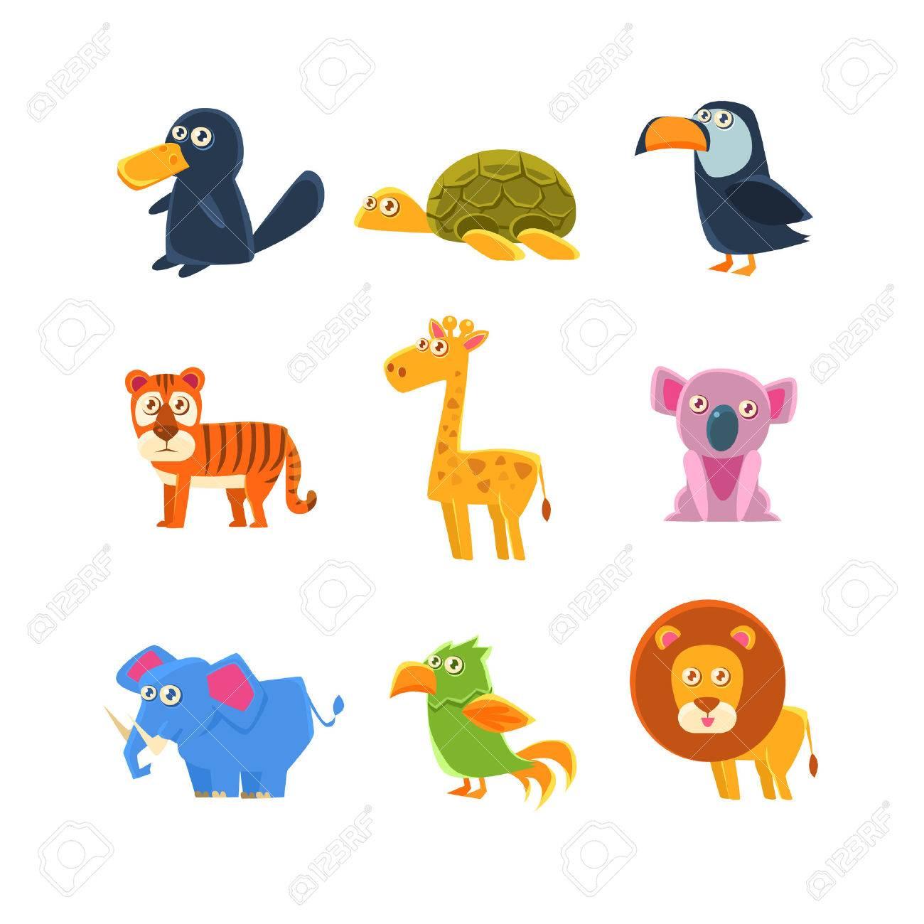 4a01c460a52f0 Foto de archivo - Los animales exóticos fauna Conjunto De Dibujos infantiles  tontos Aislado en el fondo blanco. Animal divertido engomadas coloridas del  ...