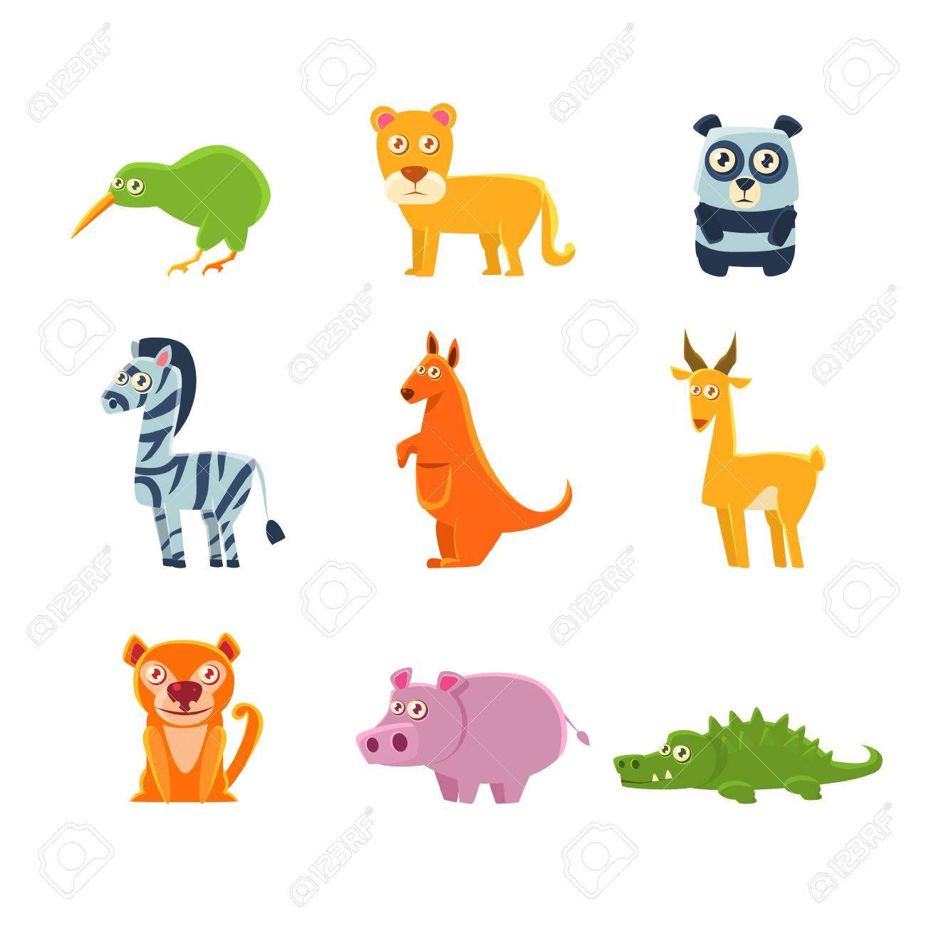 f7868da038aa6 Foto de archivo - Los animales exóticos fauna Colección De Dibujos  infantiles tontos Aislado en el fondo blanco. Animal divertido engomadas  coloridas del ...