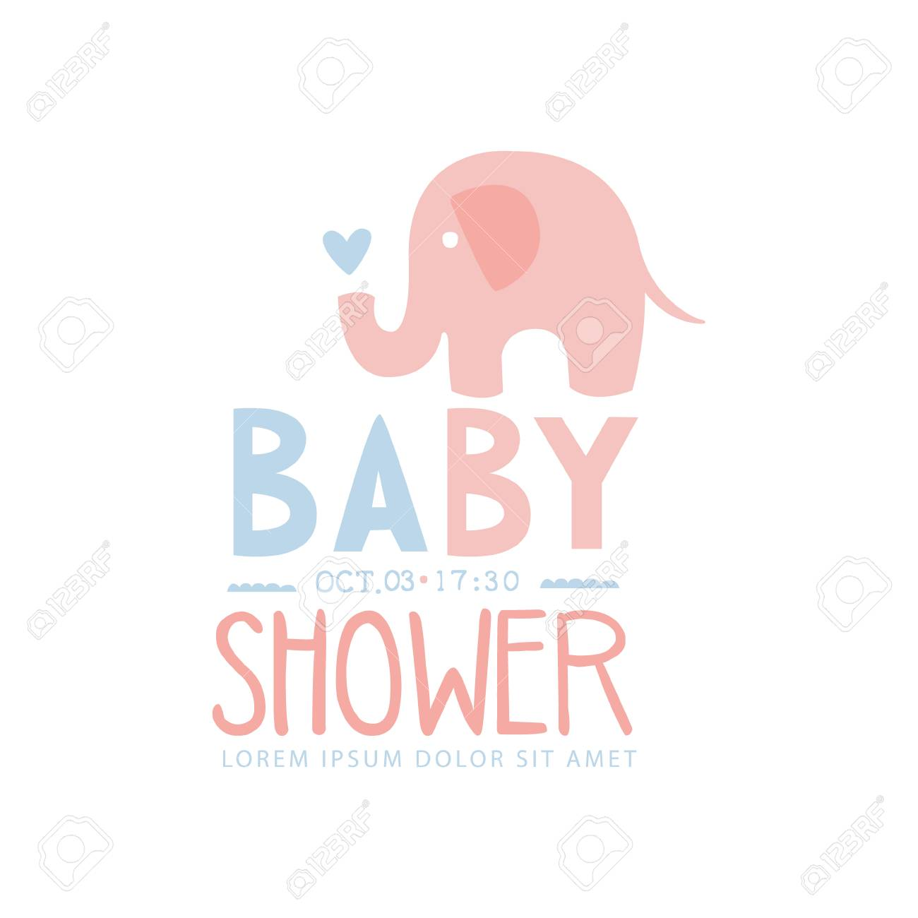 baby shower invitation design template with toy elephant