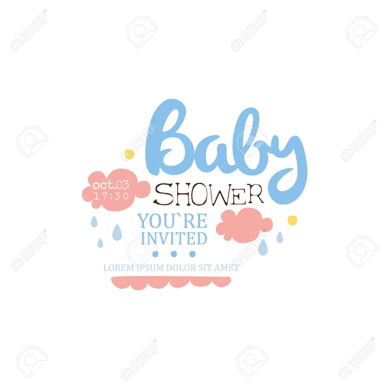 Baby Shower Invitación Plantilla De Diseño Con Nubes Elemento Caligráfico Del Vector Para La Postal Recién Nacida De La Fiesta