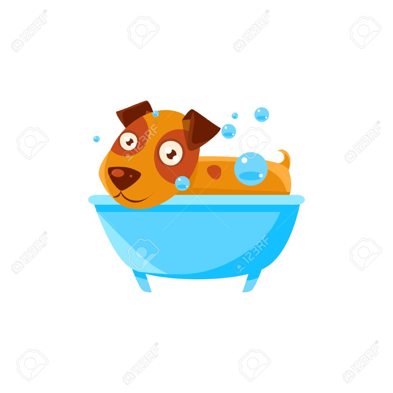 Puppy Taking A Bubble Bath In A Tub. Dog Everyday Activity Childish ...