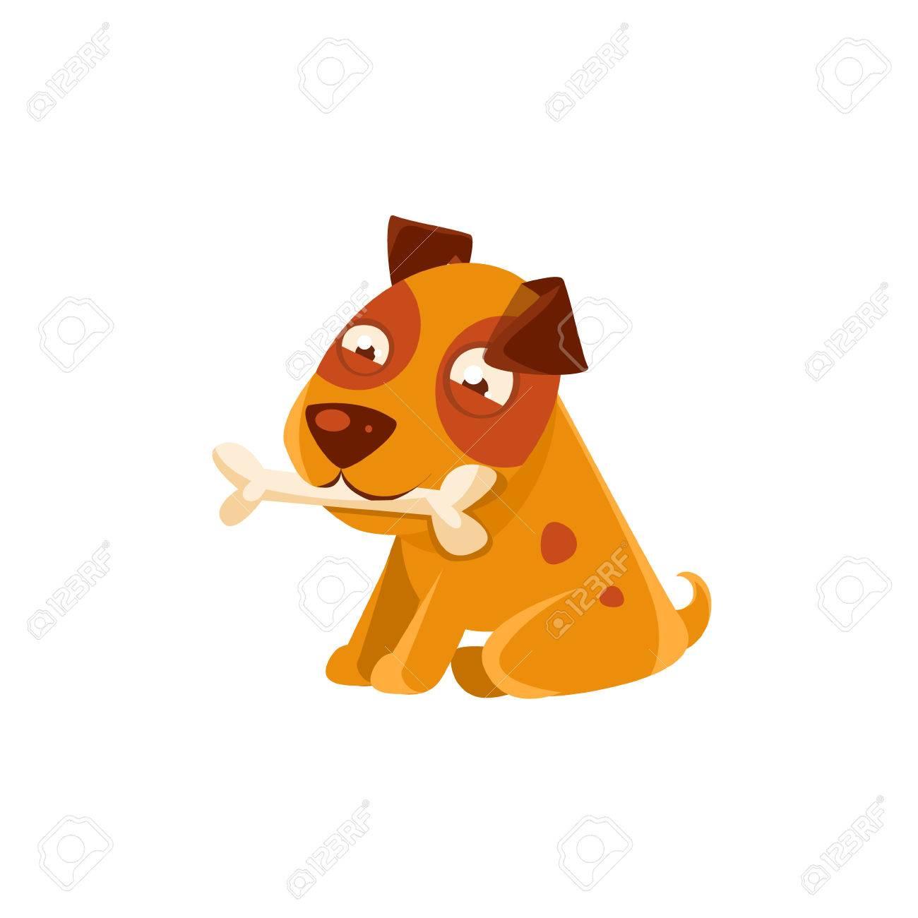 Osso Per Cani Disegno.Cucciolo Sorridente Che Tiene Un Osso Nella Bocca Cane Attivita Ogni Giorno Disegno Bambino Isolato Su Sfondo Bianco Autoadesivo Colorato Animale