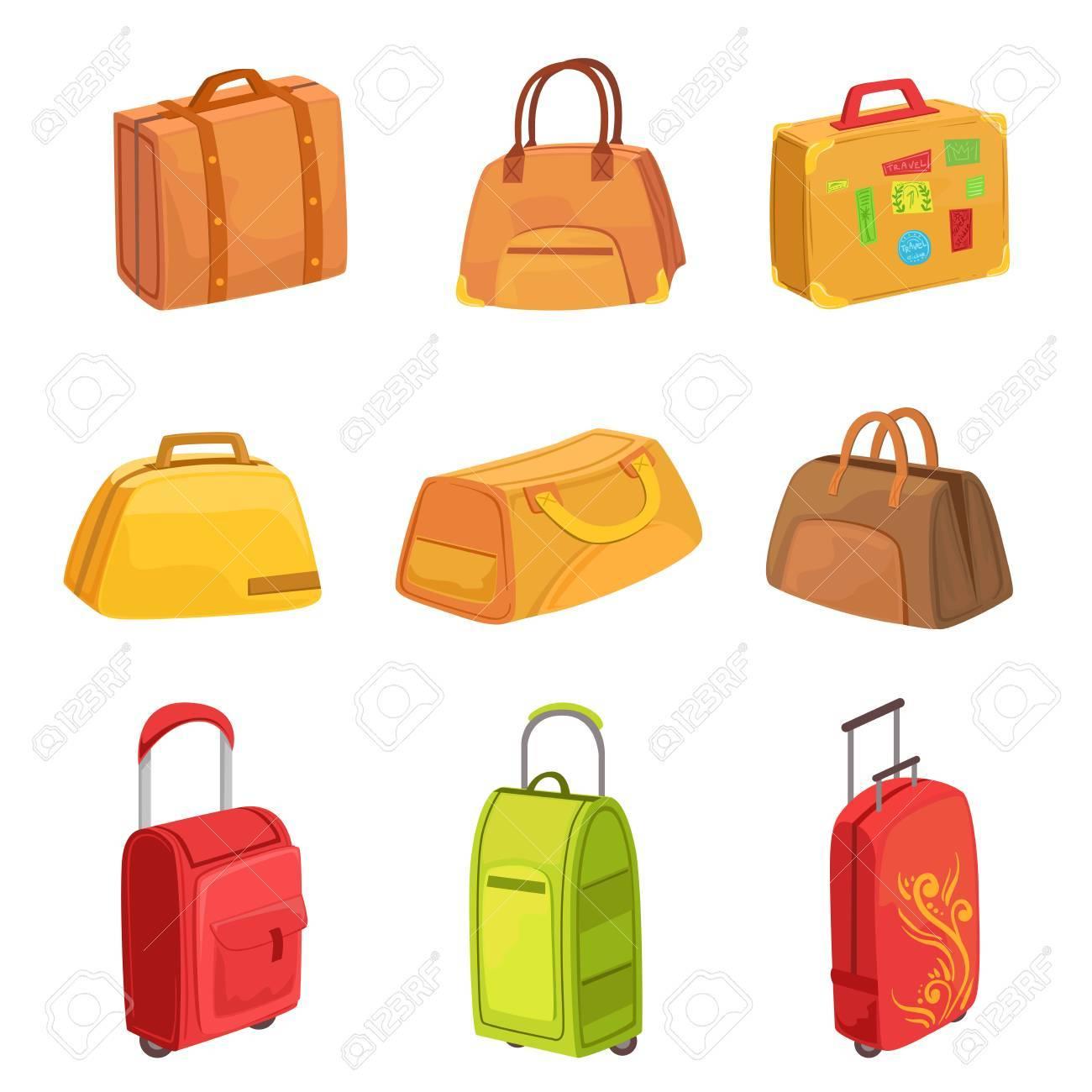 スーツケースやその他荷物かばんアイコンのセット明るい色分離白地に