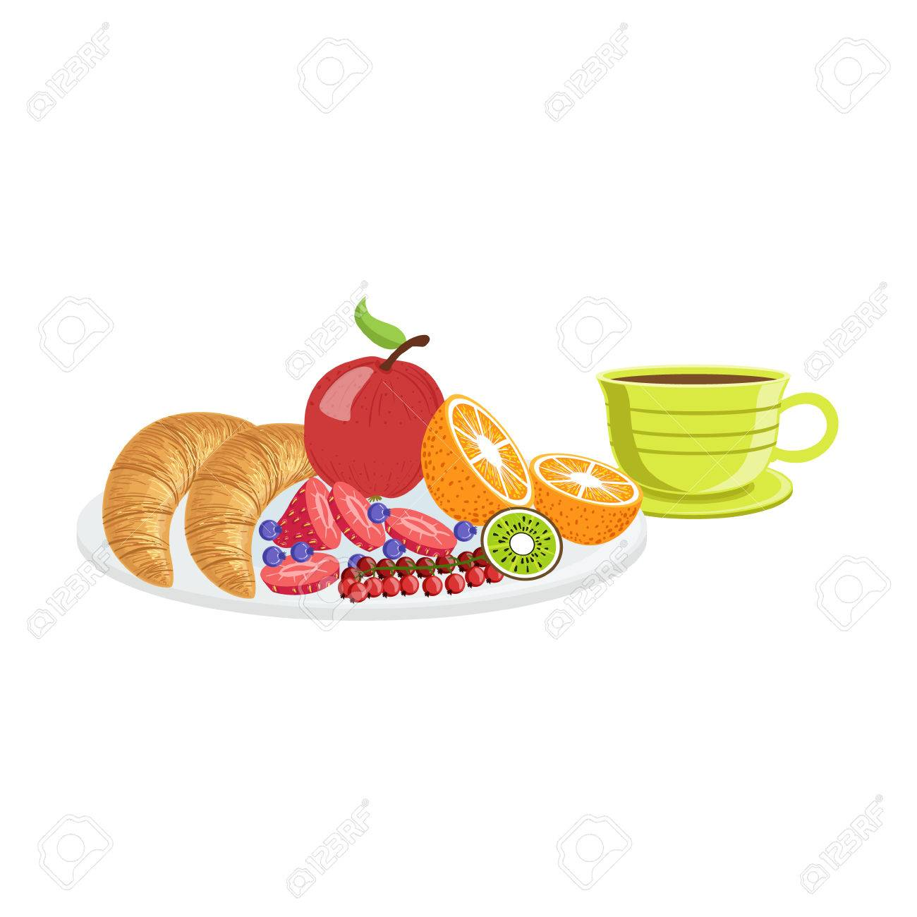Croissant Fruit And Coffee Breakfast Food And Drink Set Morning Royalty Free Cliparts Vectors And Stock Illustration Image 64035328