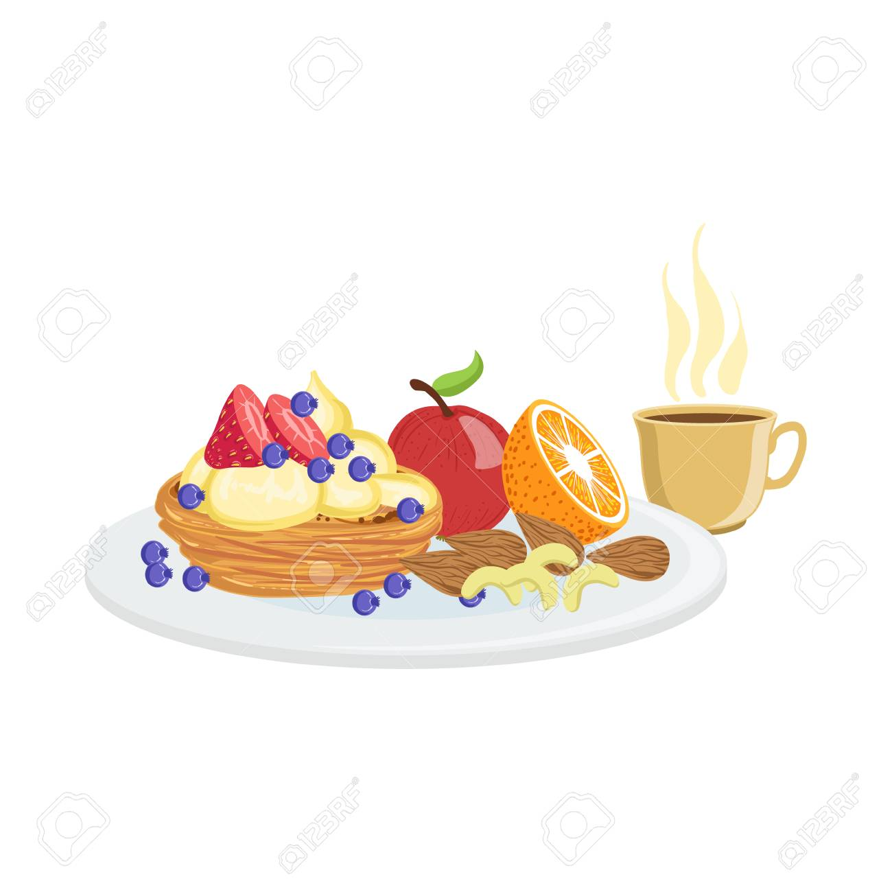 Cake Fruit And Coffee Breakfast Food And Drink Set Morning Royalty Free Cliparts Vectors And Stock Illustration Image 64035332