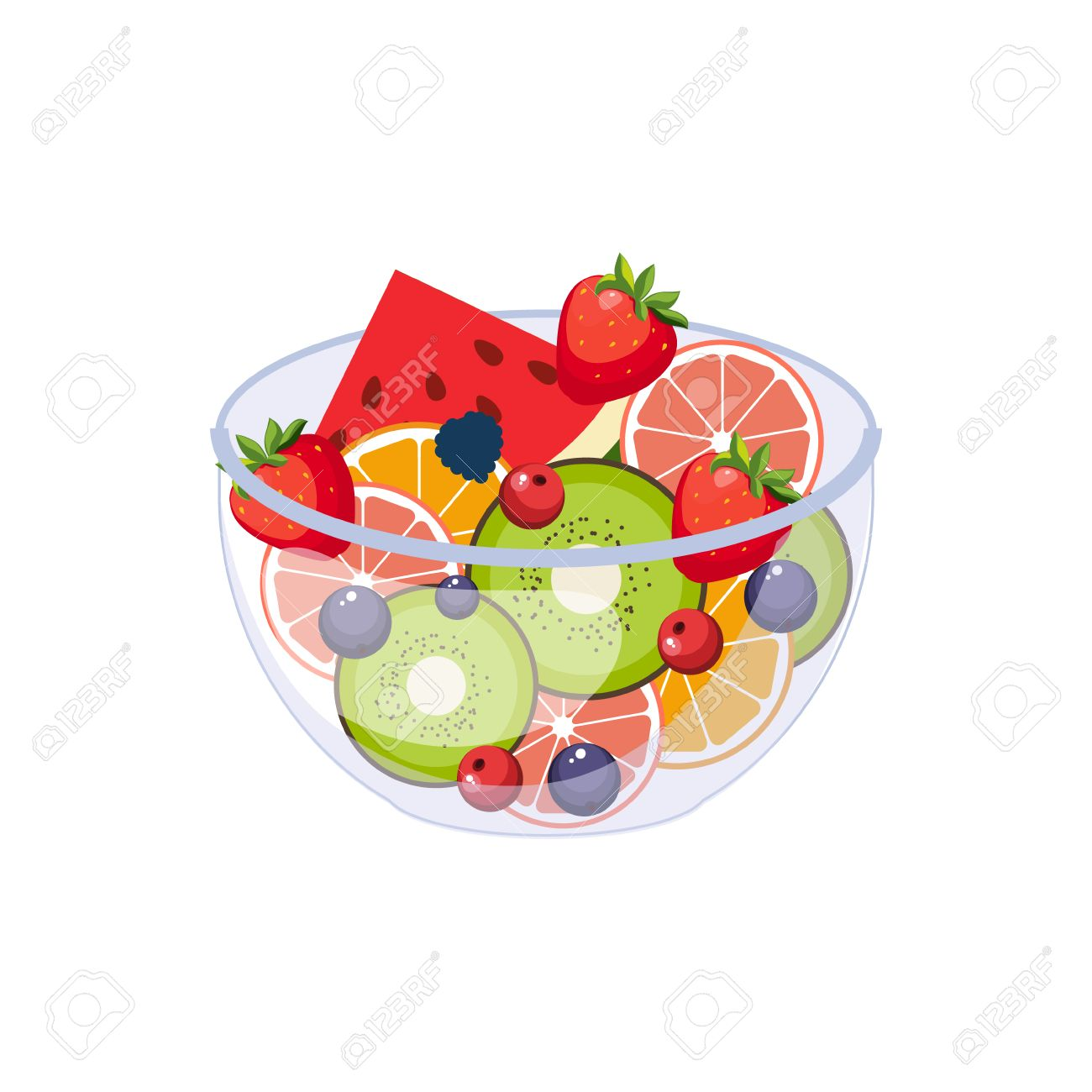 Fruit Salad Breakfast Food Element Isolated Icon. Simple Realistic Flat Vector Colorful Drawing On White Background. - 64035371
