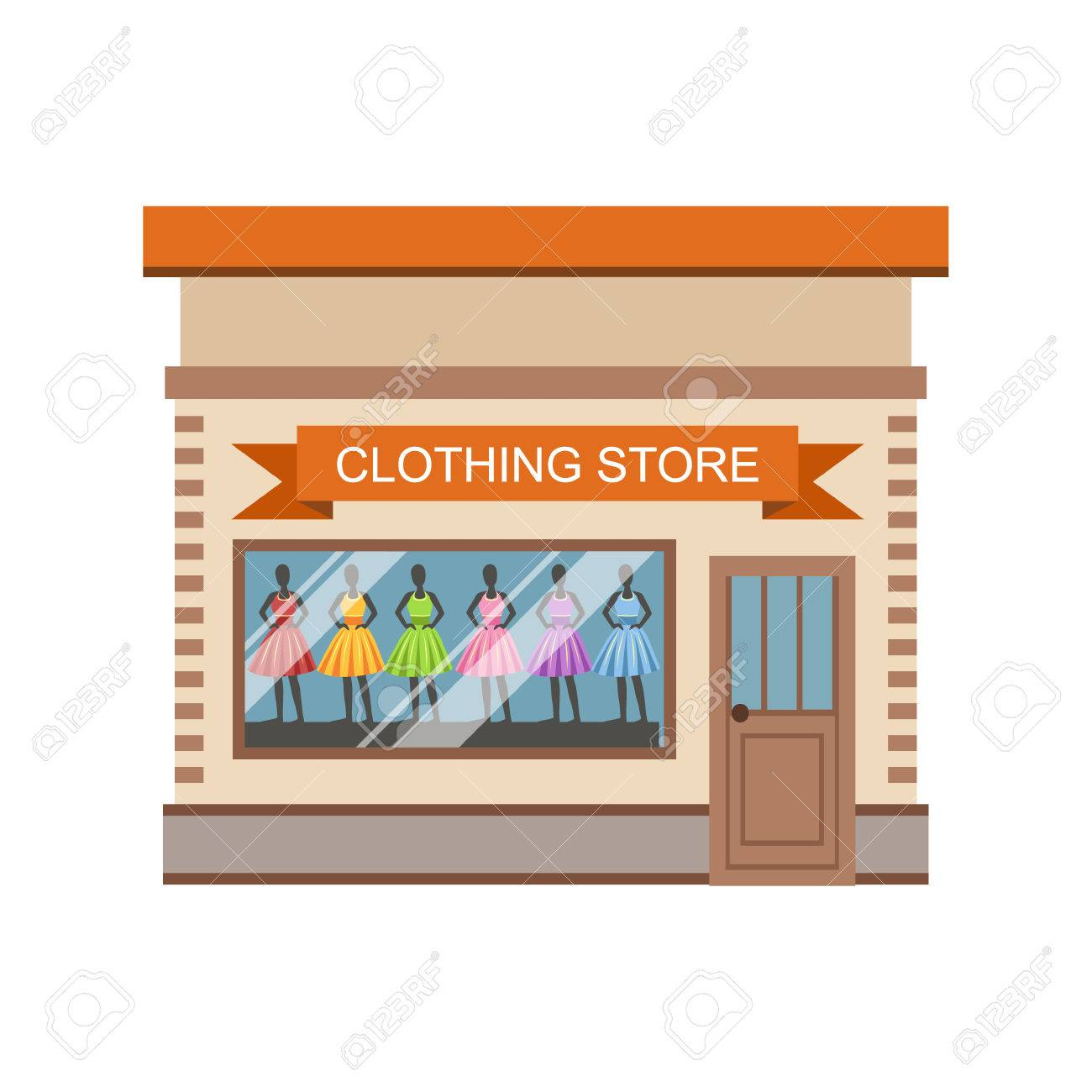 clothing store commercial building facade design colorful detailed