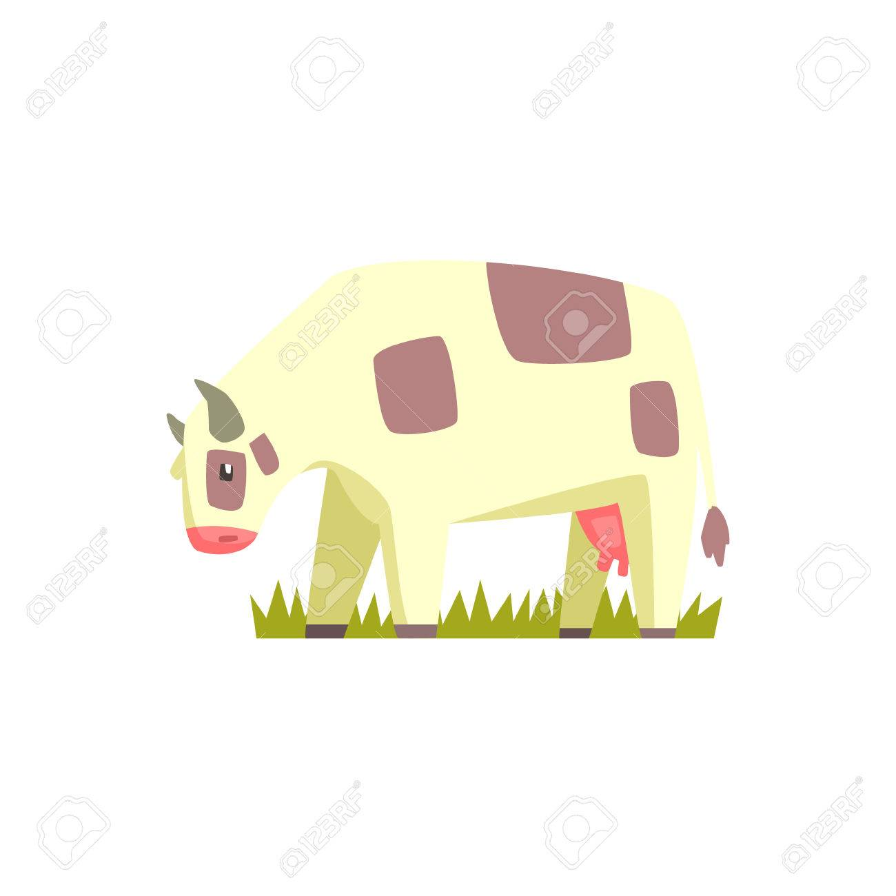 Cow Chubby Toy Animal Farm Mignon Sticker Bright Couleur Funky Plat