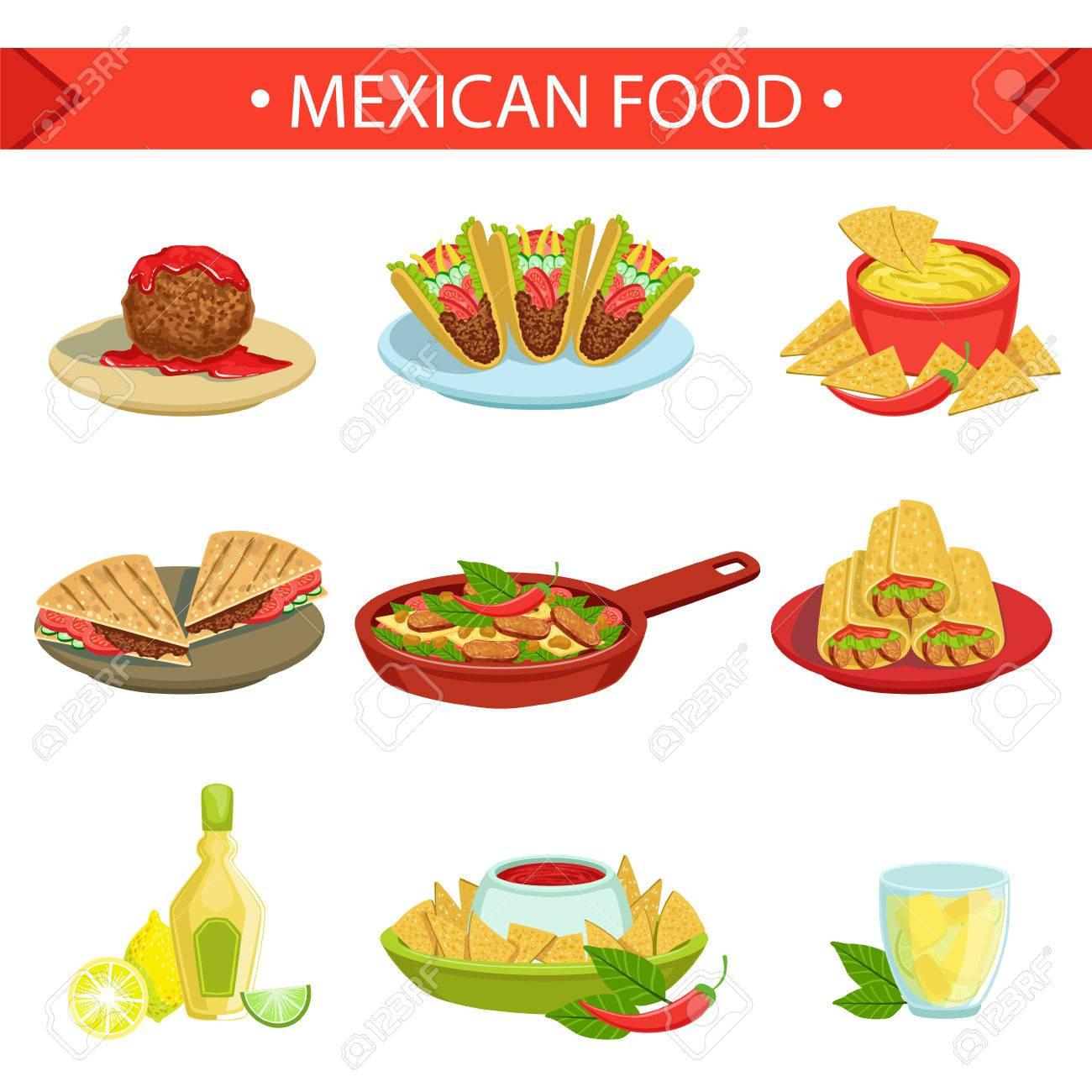 Mexican Food Berühmte Gerichte Illustration Set. Traditionelle Küche ...