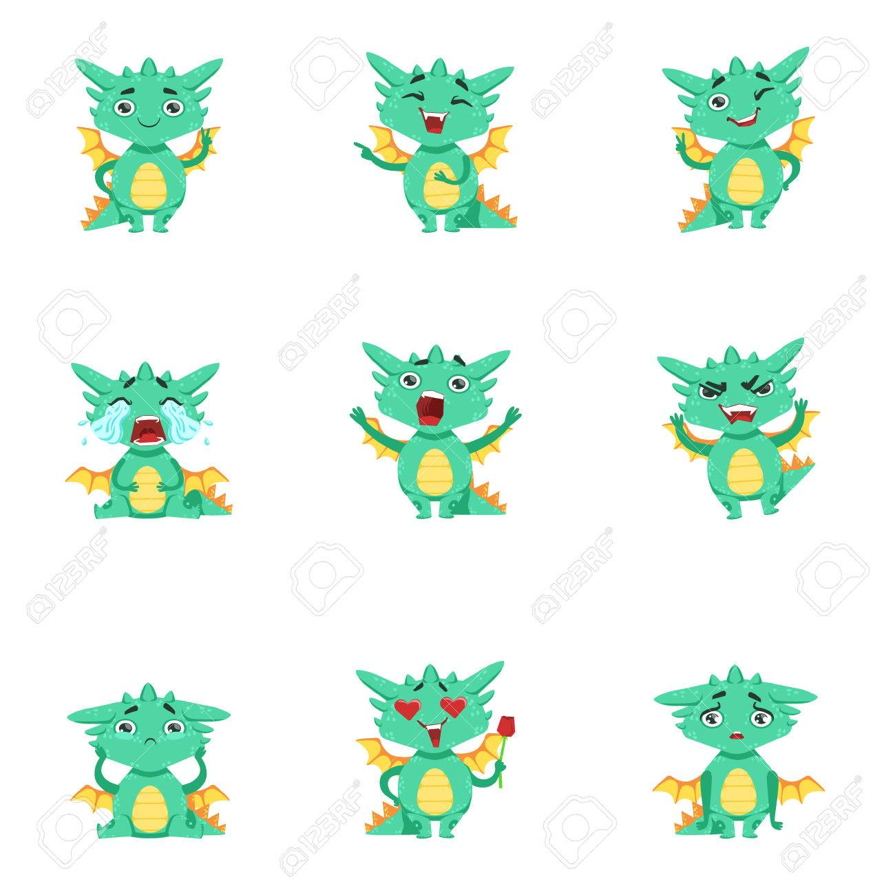 little dragon cute emoji set cute detailed stickers with childish