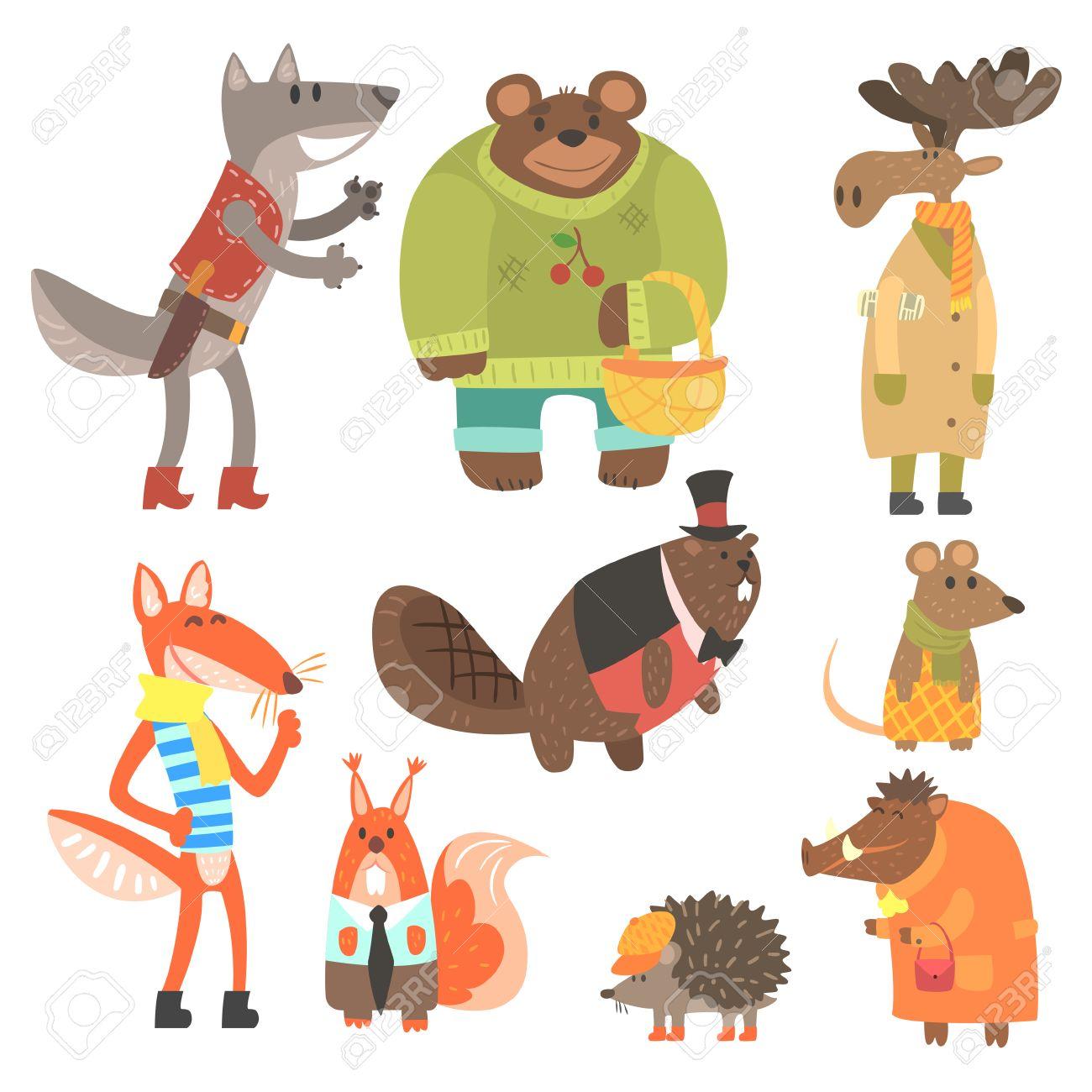 森の動物イラストの人間の服はセットに身を包んだ。クールなかわいい漫画