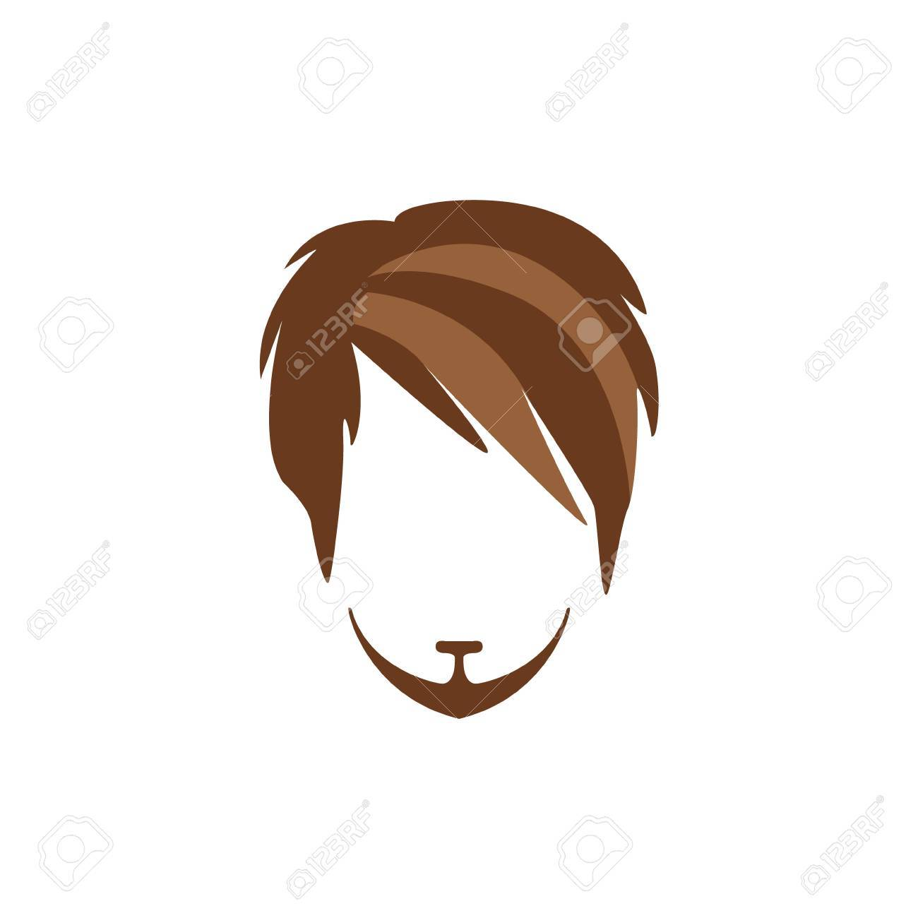 Hipster Male Hair And Facial Hair Style With Side Fringe And