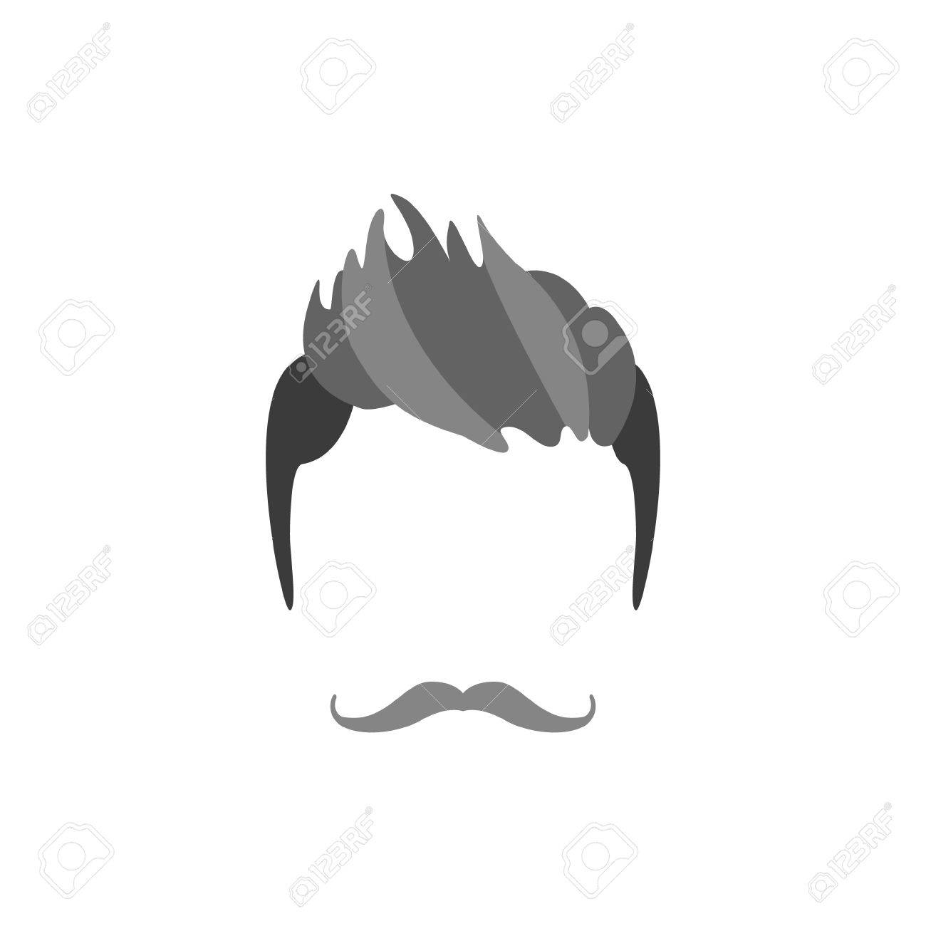 Hipster Male Hair And Facial Hair Style With Handlebar Moustache ...