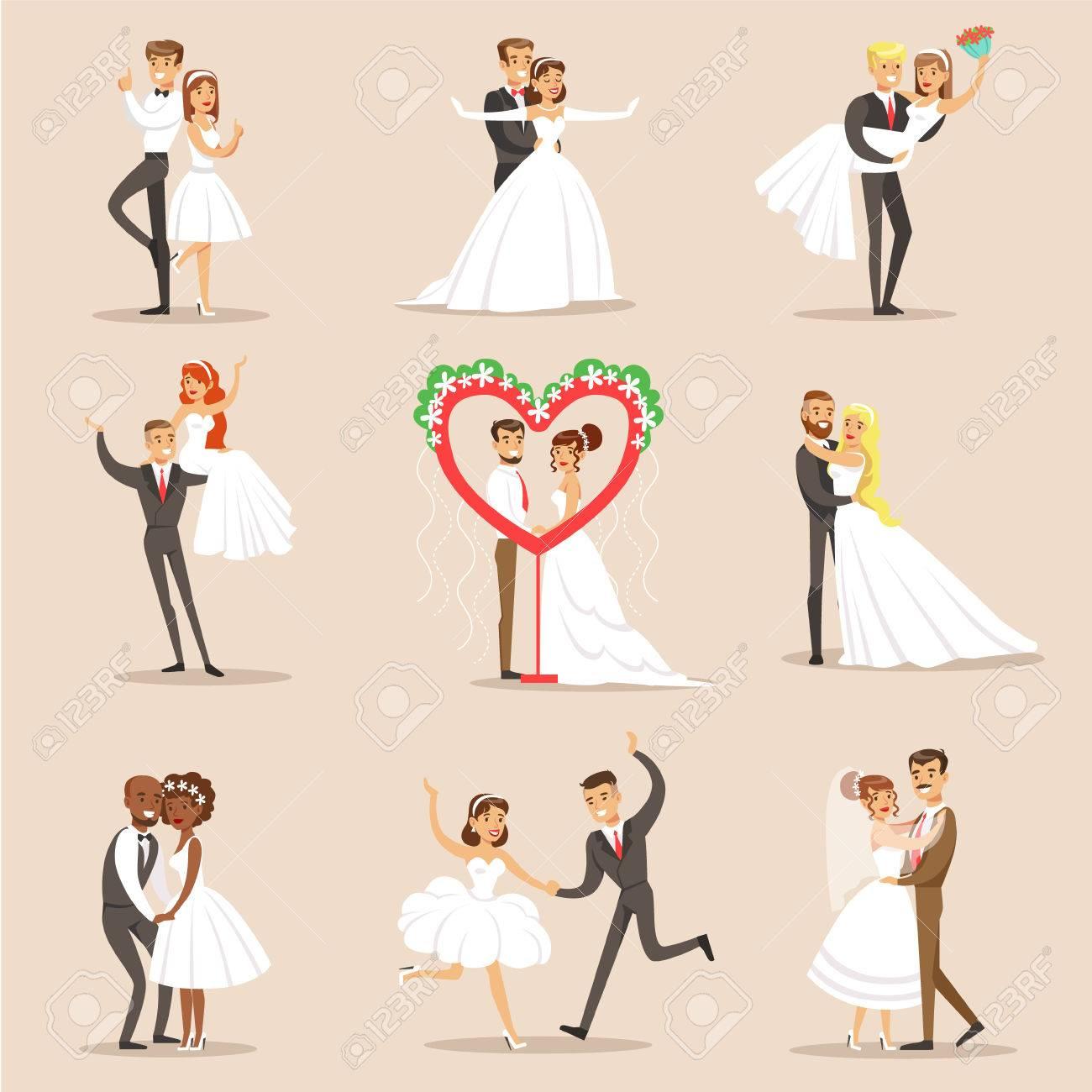 Los Recién Casados ??felices En La Fiesta De La Boda Conjunto De ...