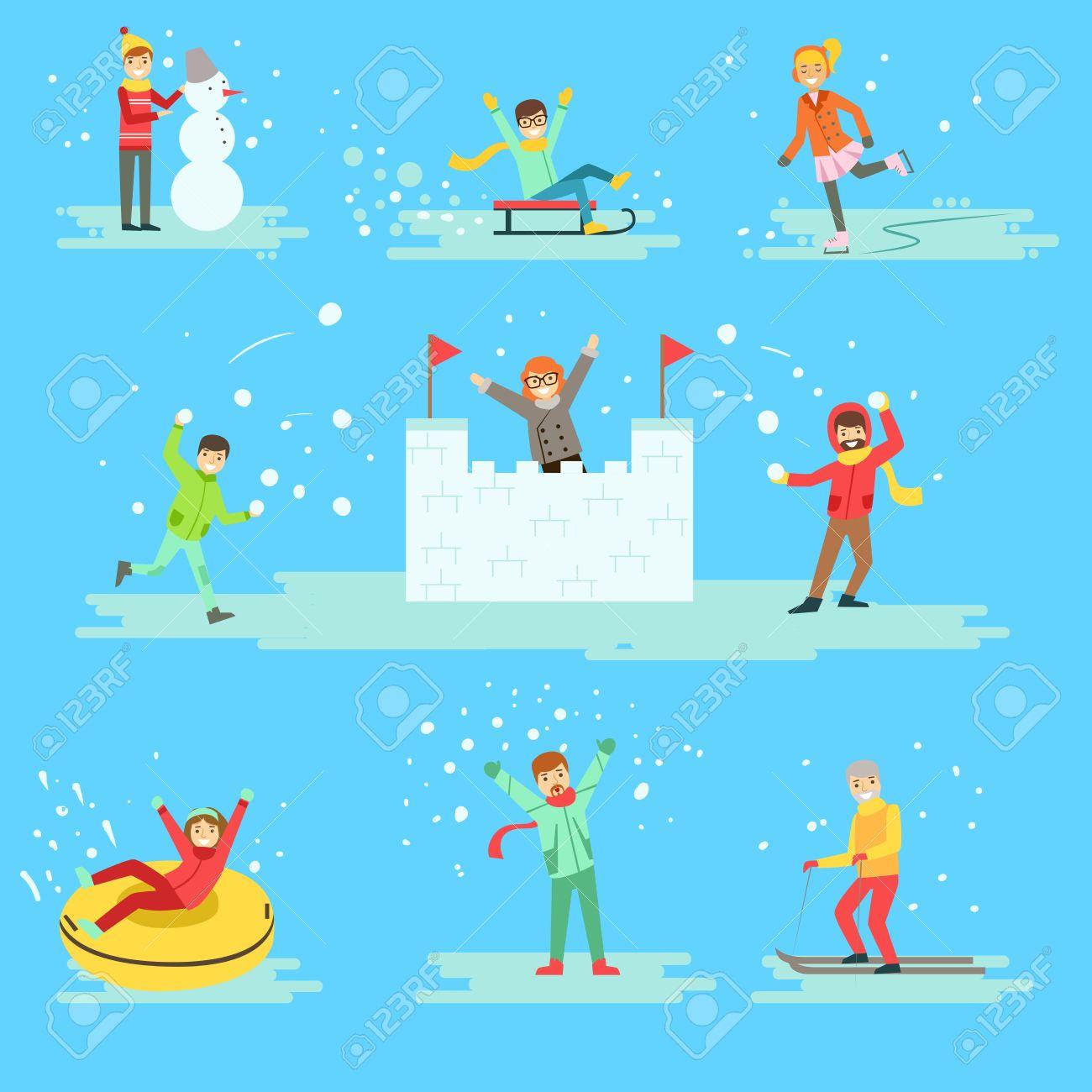 イラストの冬セットで雪の中で楽しい時を過す人々青の背景に異なる冬季