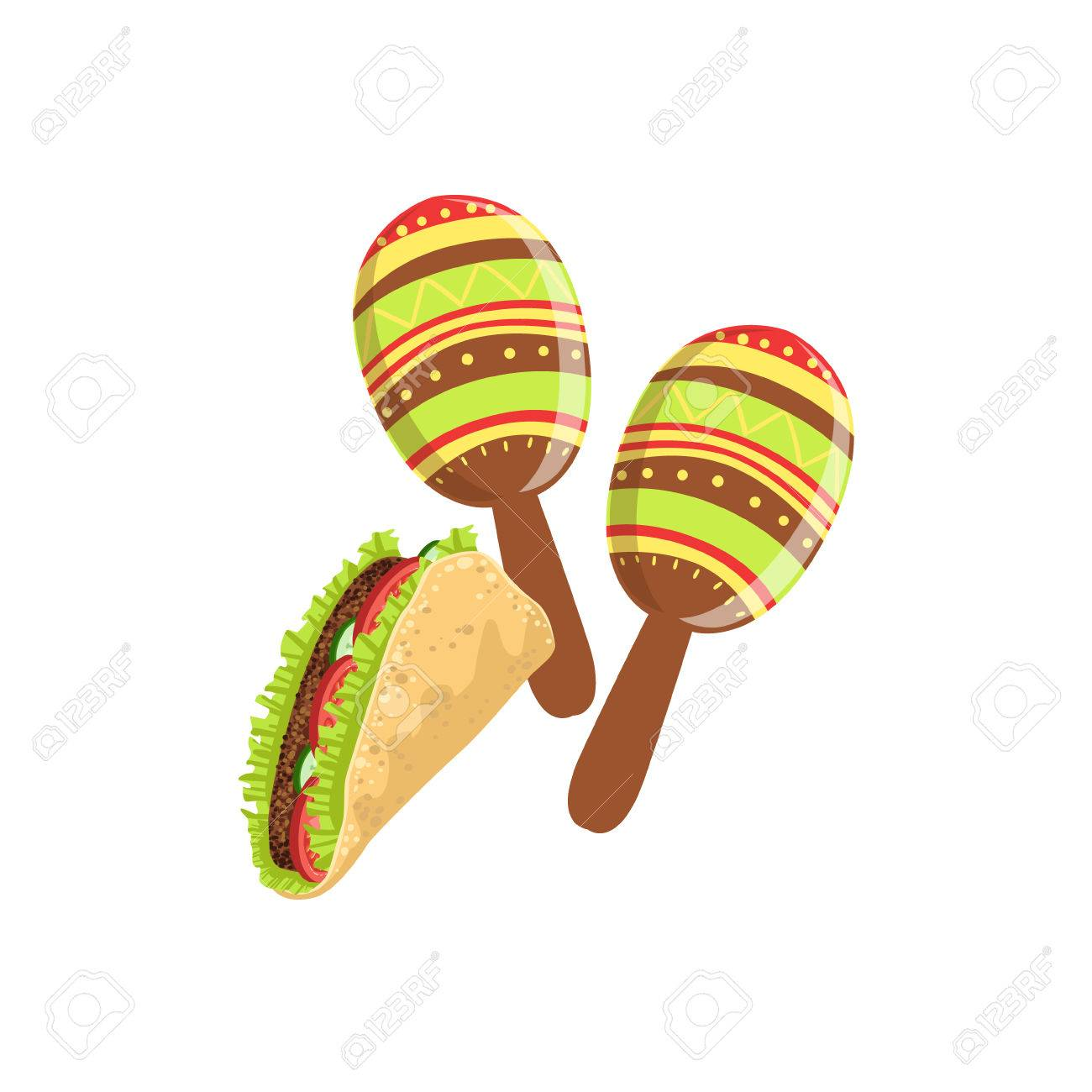 Taco And Maracas Mexican Culture Symbol Isolated Bright Color