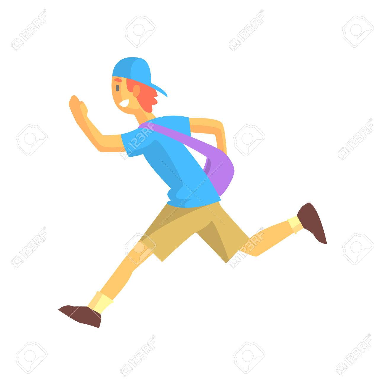 Express Mail Postman Guy Running Graphic Design Cool Geometric Style Isolated Drawing On White Background