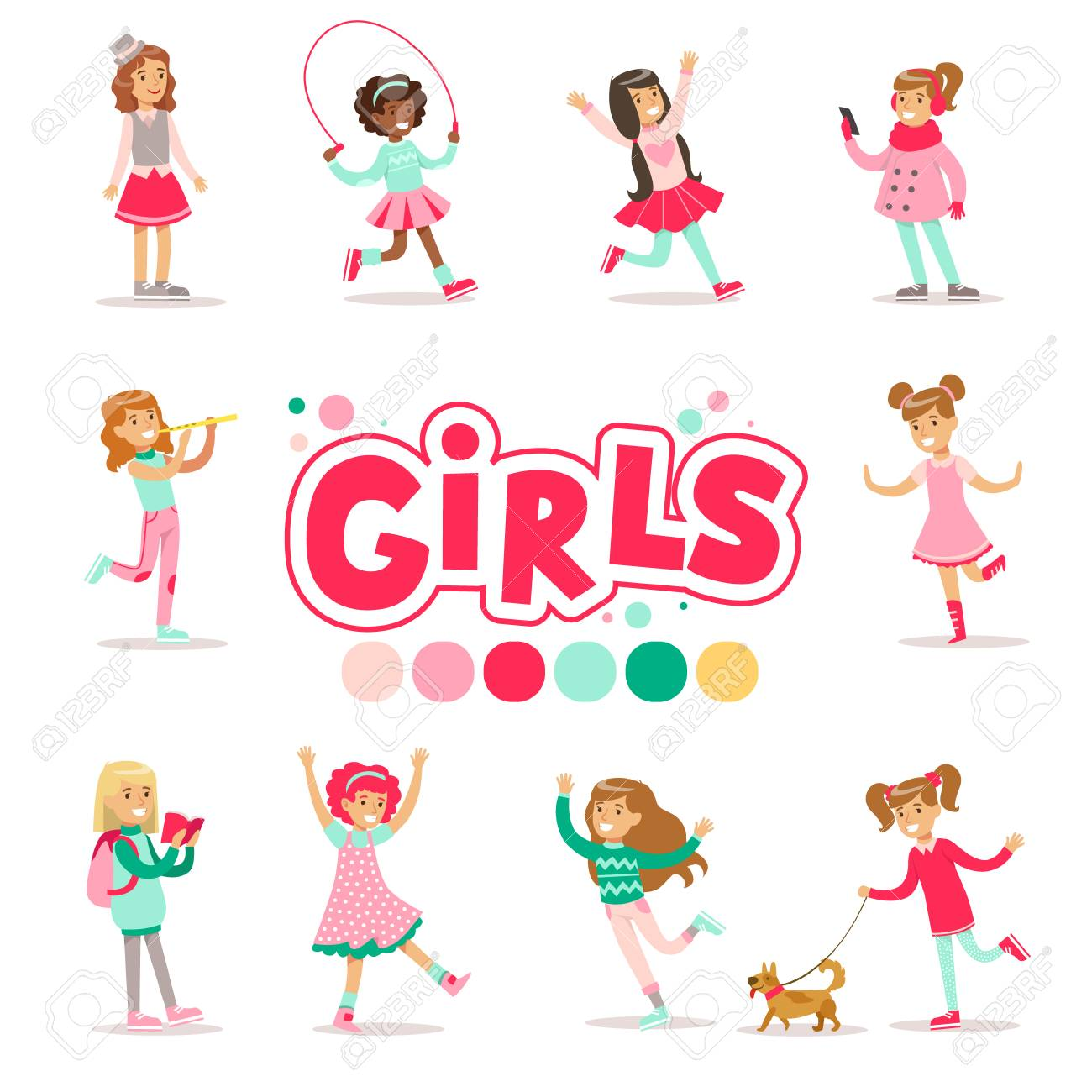 Happy And Their Expected Classic Behavior With Girly Games And Pink Dresses Set Of Traditional Female Kid Role Illustrations. Collection Of Smiling Teenage Girls And Their Interests Vector Flat Illustrations. - 128162333