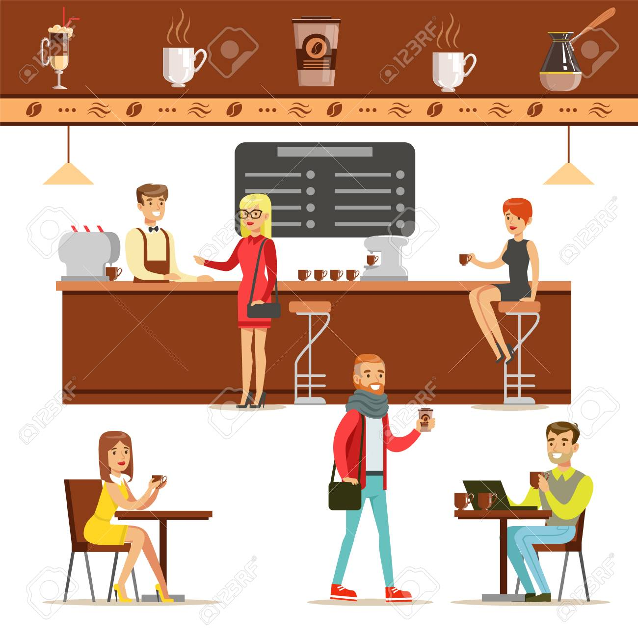 Interior Design And Happy Clients Of A Coffee Shop Set Of Illustrations. People Ordering And Enjoying Drinks And Food In A Cafe Colorful Simple Vector Drawings. - 128162337