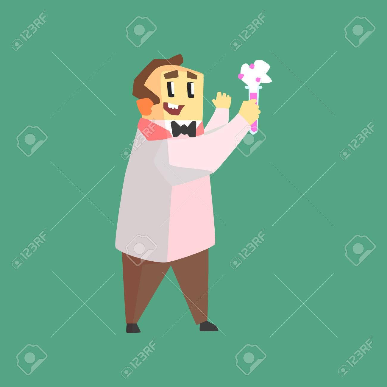 Scientifique Drole Dans Coat Lab Faire Chemical Reaction Dans Test Tube Caractere Dessin Sur Fond Vert Dans Cool Style Geometrique Clip Art Libres De Droits Vecteurs Et Illustration Image 65540444